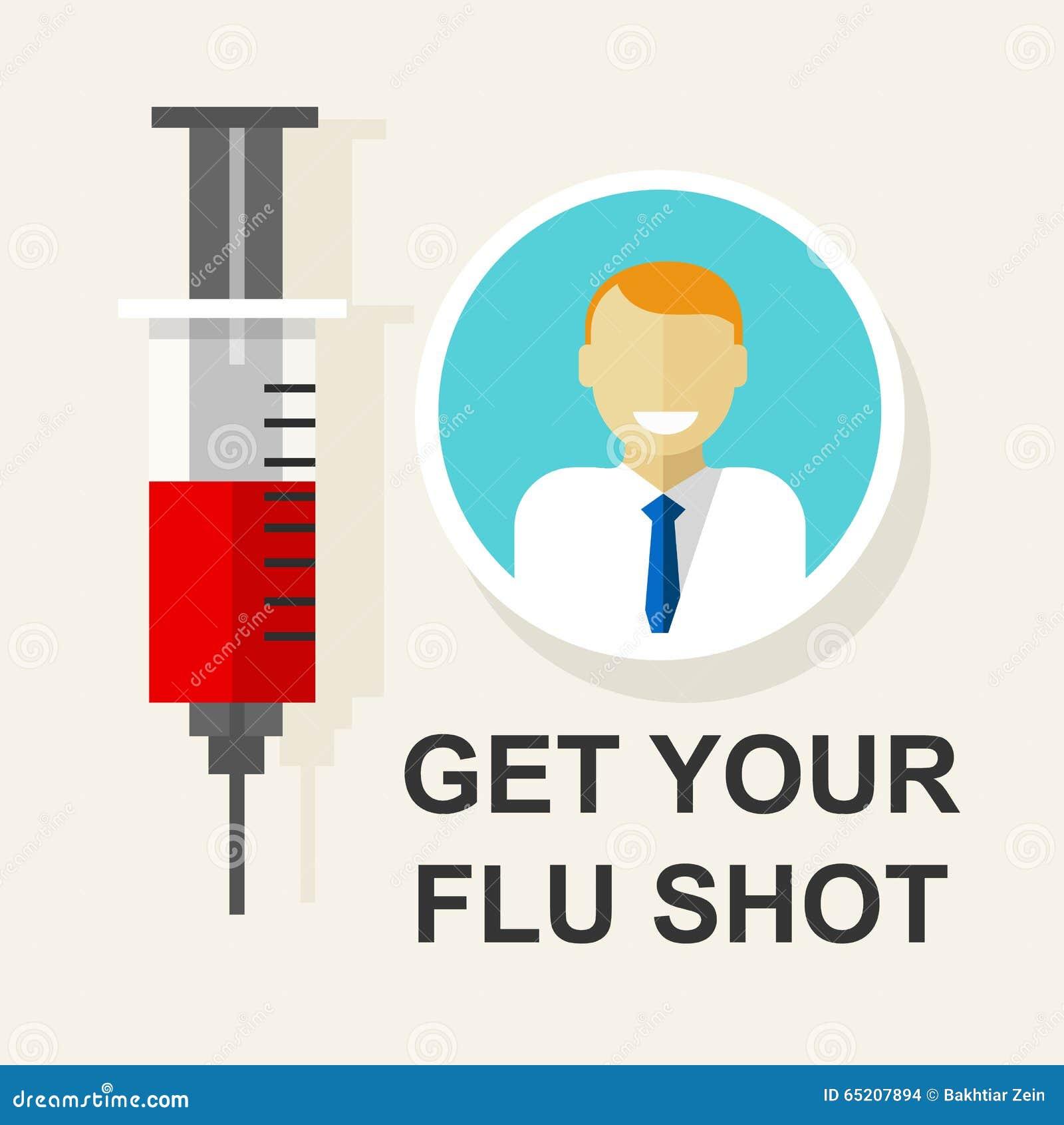 Erhalten Sie Ihrer Grippeimpfungsschutzimpfung Impfvektorillustration