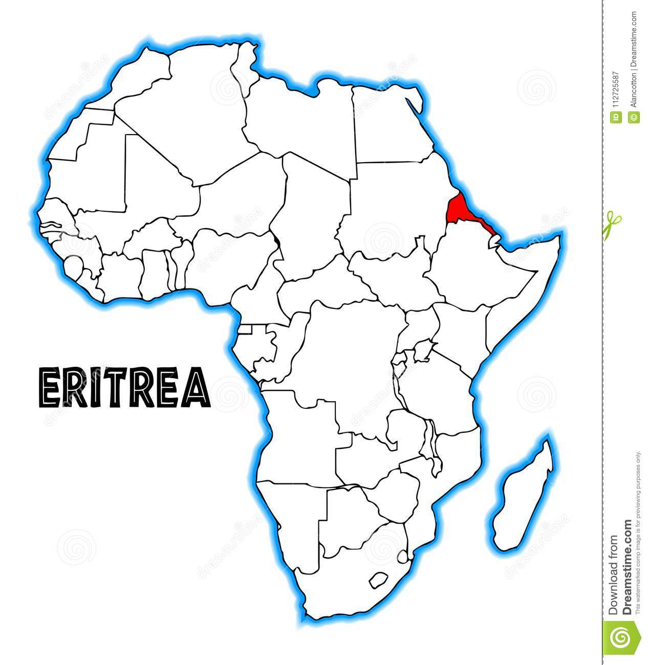 Map Of Africa Eritrea.Eritrea Africa Map Stock Vector Illustration Of Geography 112725587