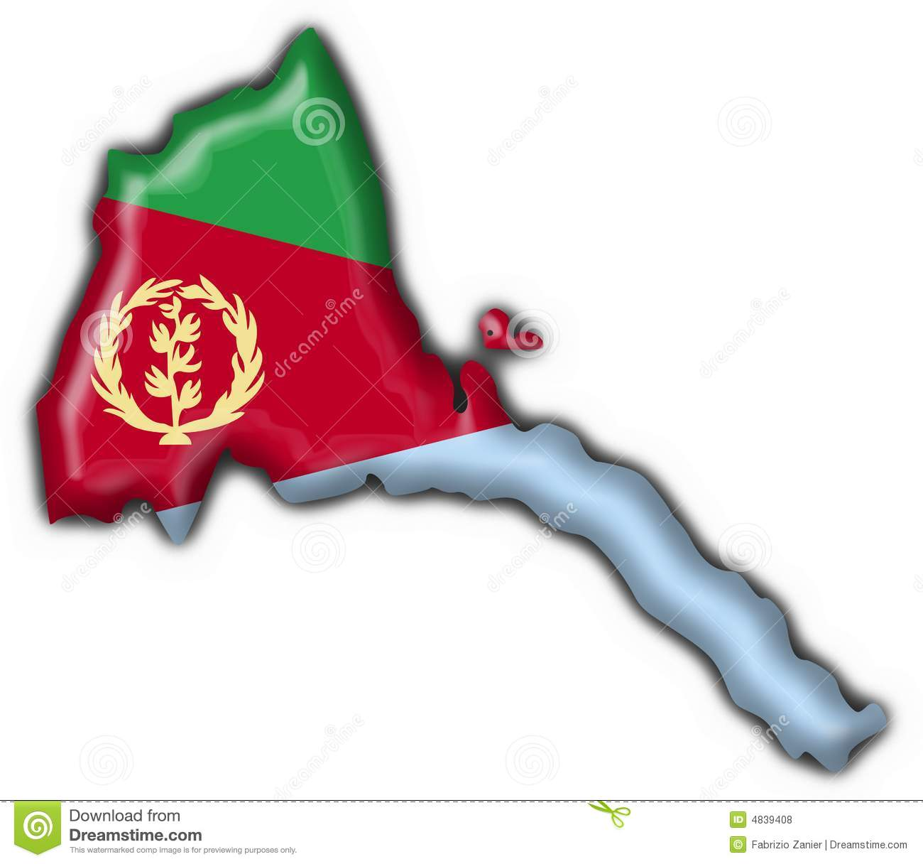 Eritrea Button Flag Map Shape Royalty Free Stock Photos