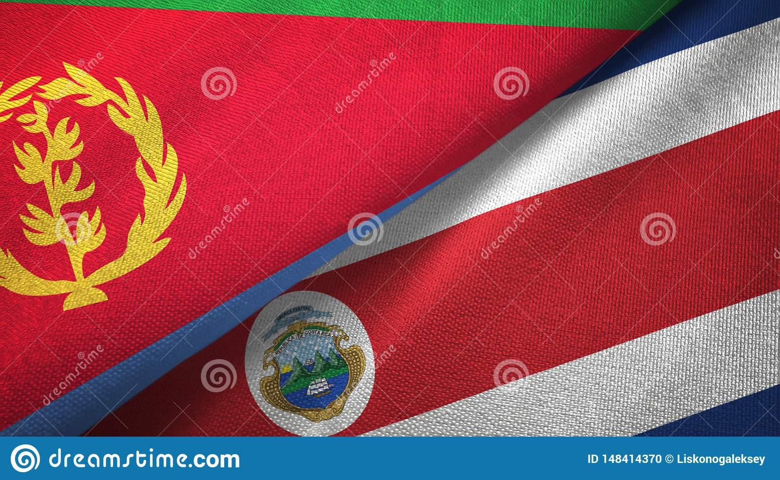 Eritrea and Costa Rica two flags textile cloth, fabric texture