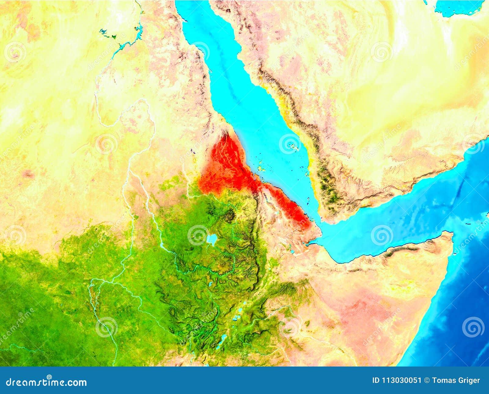 Eritrea en rojo en la tierra