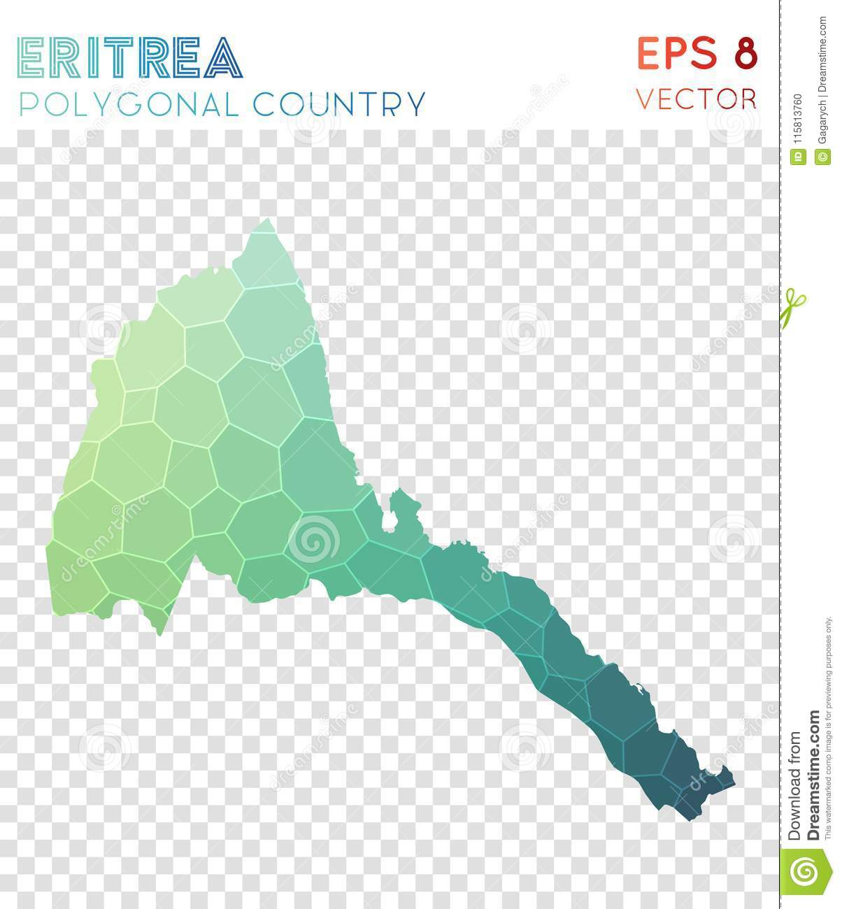 Download Eritrea Polygonal Map, Mosaic Style Country. Stock Vector    Illustration Of Border,