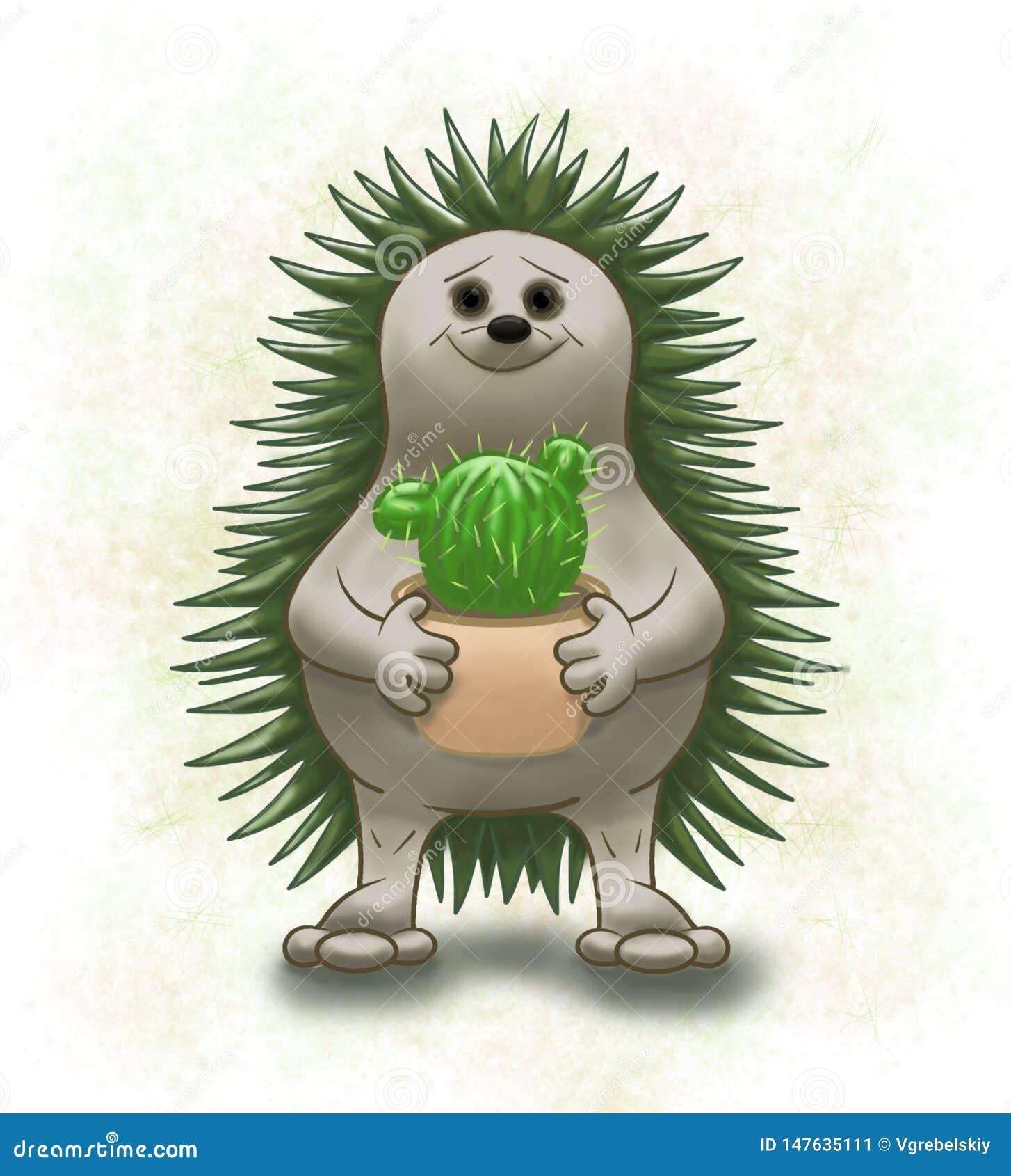 Erizo y cactus