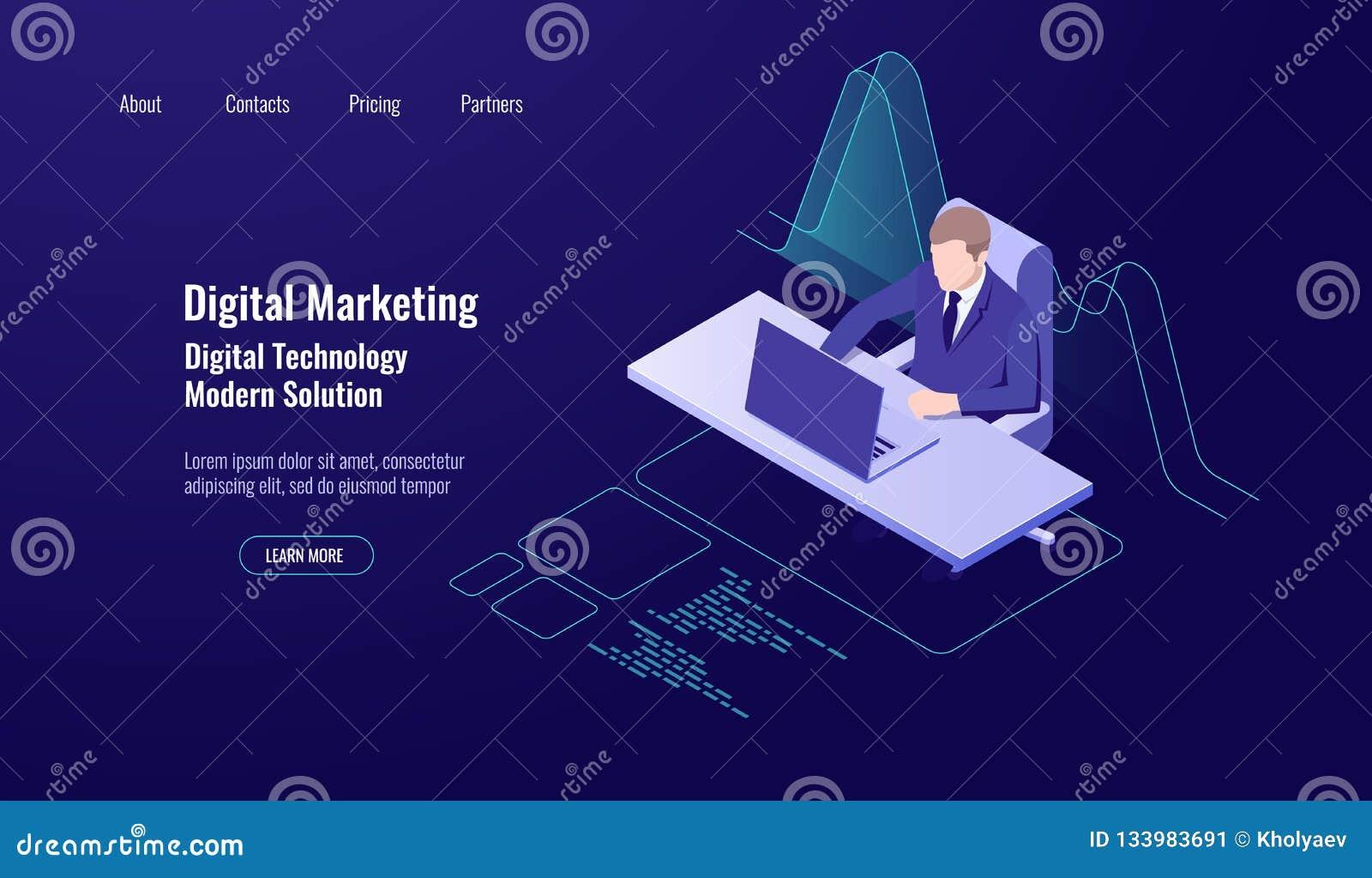Erklärende Gelddisposition, digitales Marketing, Mann sitzen und arbeiten am Computer-, Analytics- und Statistikdatendiagramm