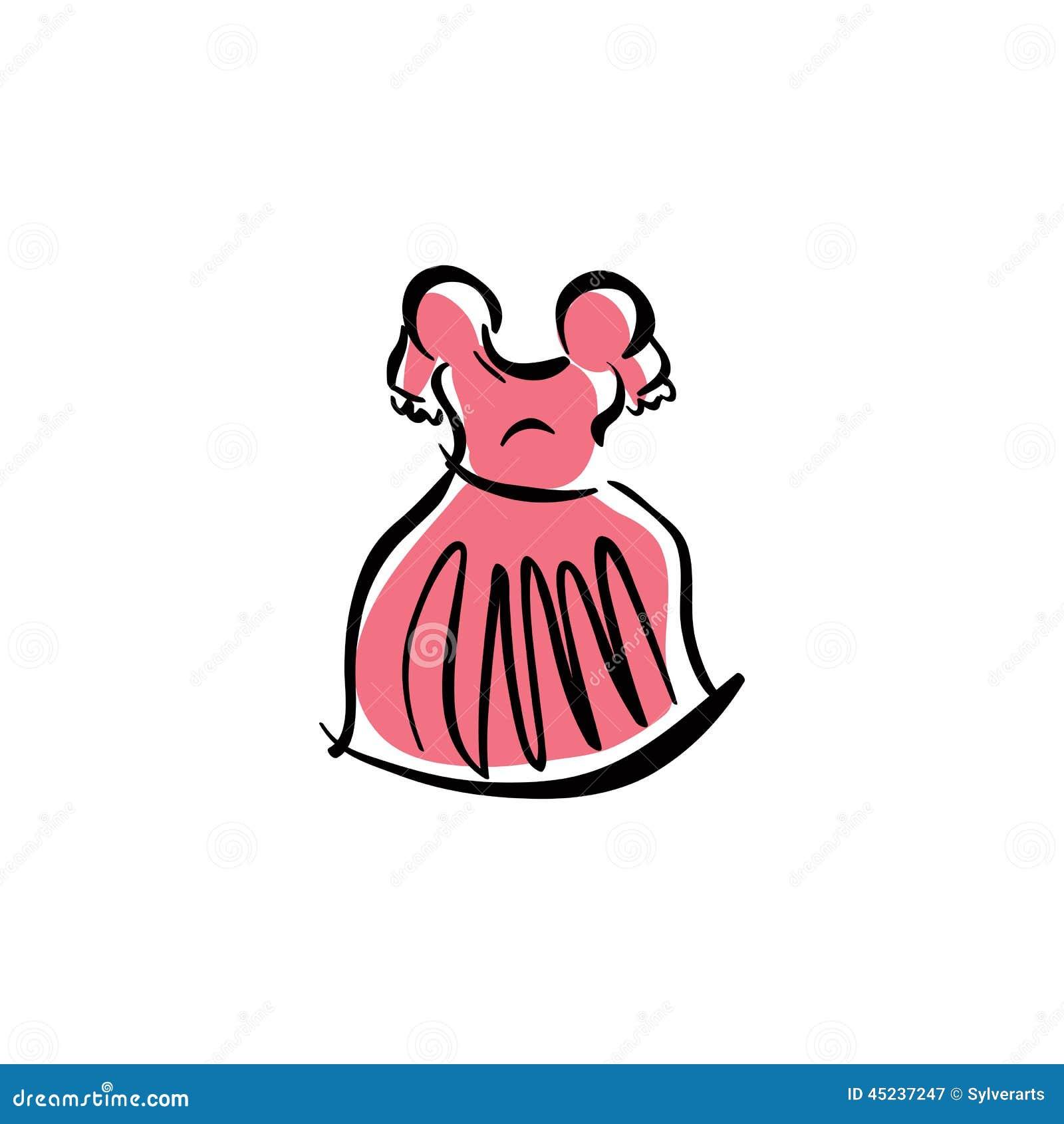 Erläutertes rosa Kleid, Hand gezeichnete Vektorkleidung