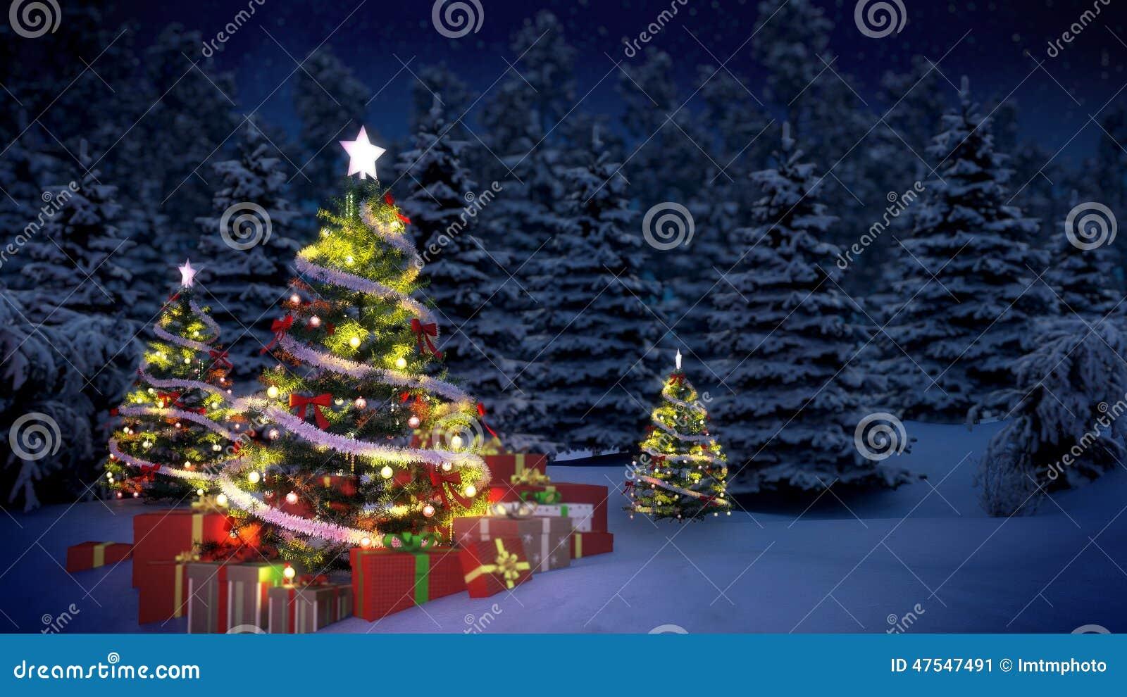 Erleichterte Weihnachtsbäume und Geschenkboxen