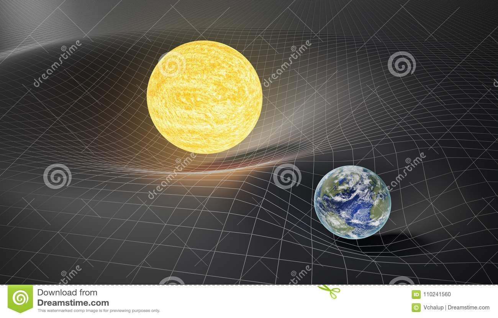 Ernst en algemeen relativiteitstheorieconcept Aarde en Zon op vervormde plaats-tijd 3D teruggegeven illustratie
