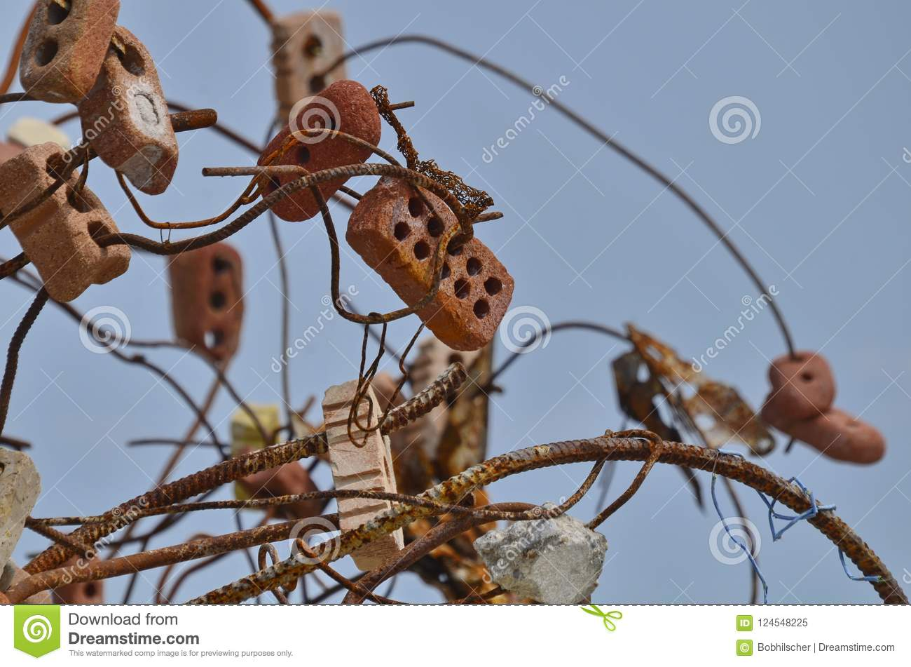 Eroded Bricks And Rusty Steel Rebar Sculpture Stock Image - Image of ...