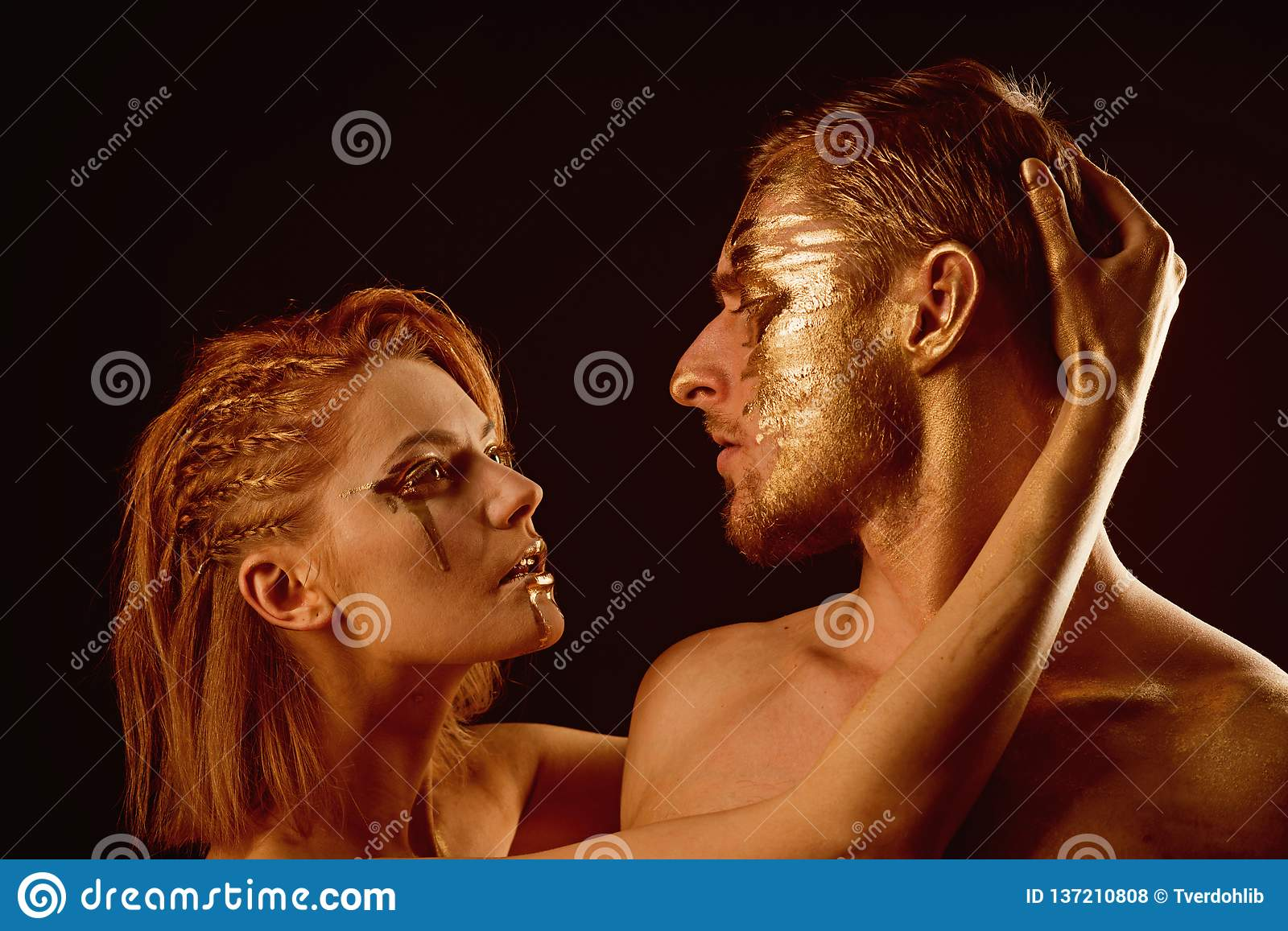 Erotic Games Of Couple In Love Couple With Golden Body Art Makeup Isolated On Black Golden Collagen Mask And Stock Photo Image Of Beauty Isolated 137210808