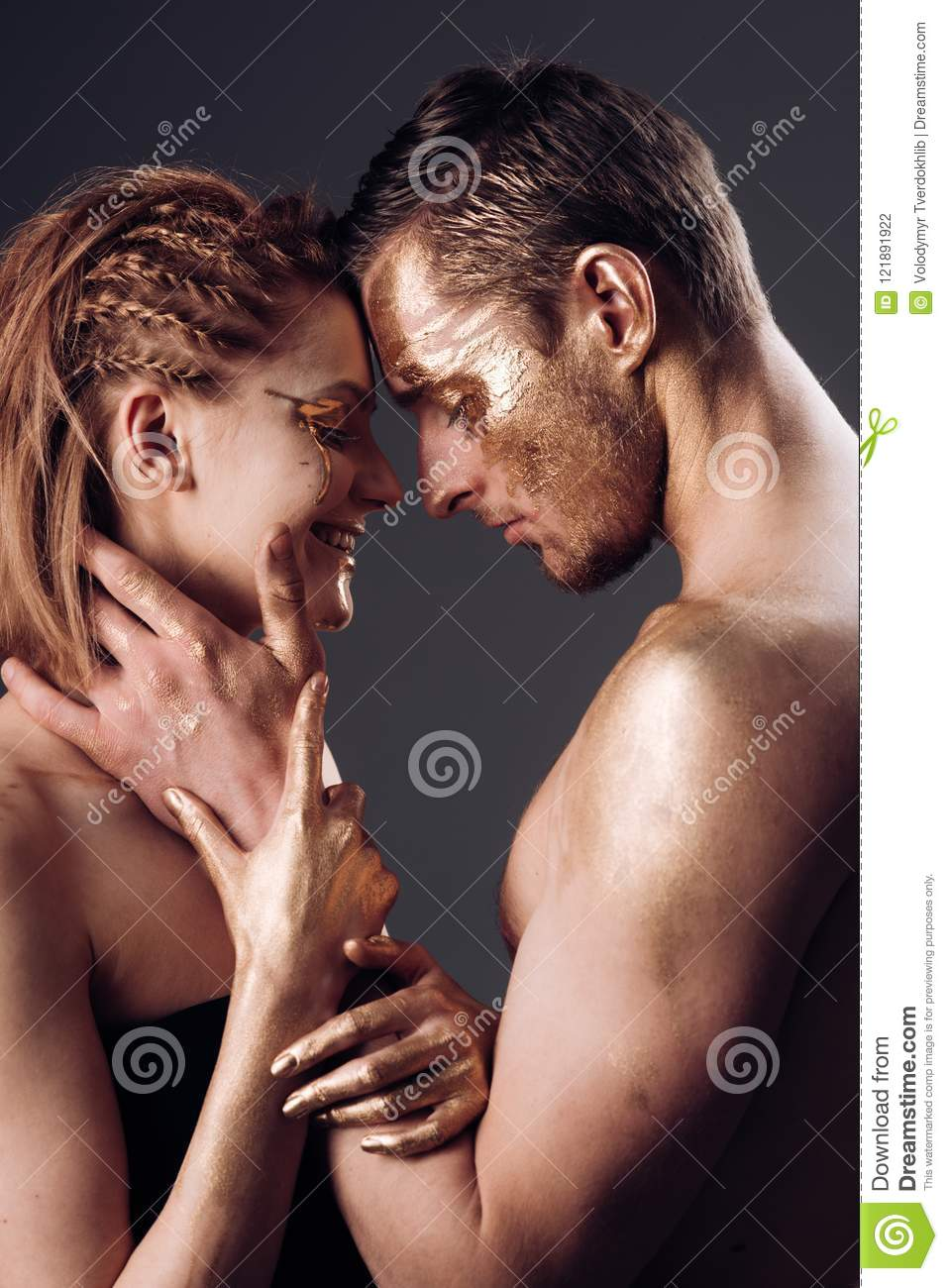 Erotic Games Of Couple In Love Couple With Golden Body Art Makeup Man And Woman Relations Golden Collagen Mask Stock Photo Image Of Couple Body 121891922
