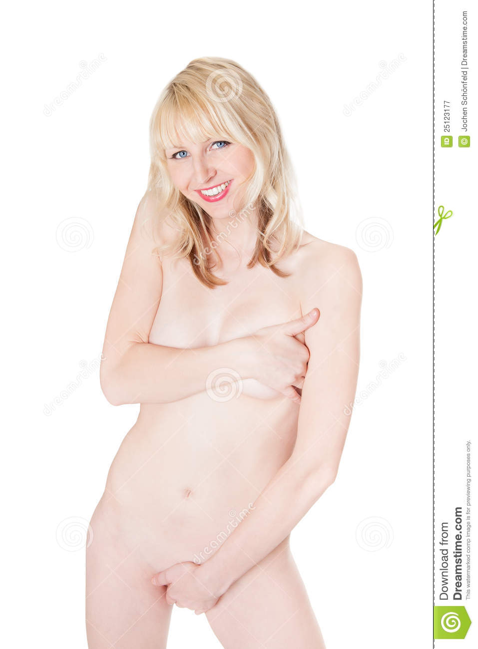nude woman covering herself