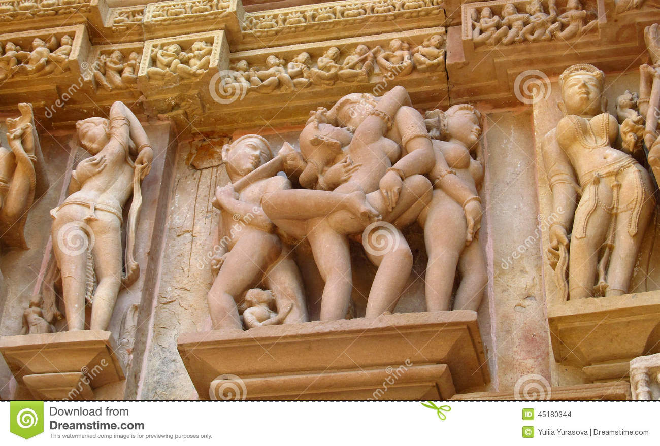 Erotic sculptures in Khajuraho Temple Group of Monuments in India