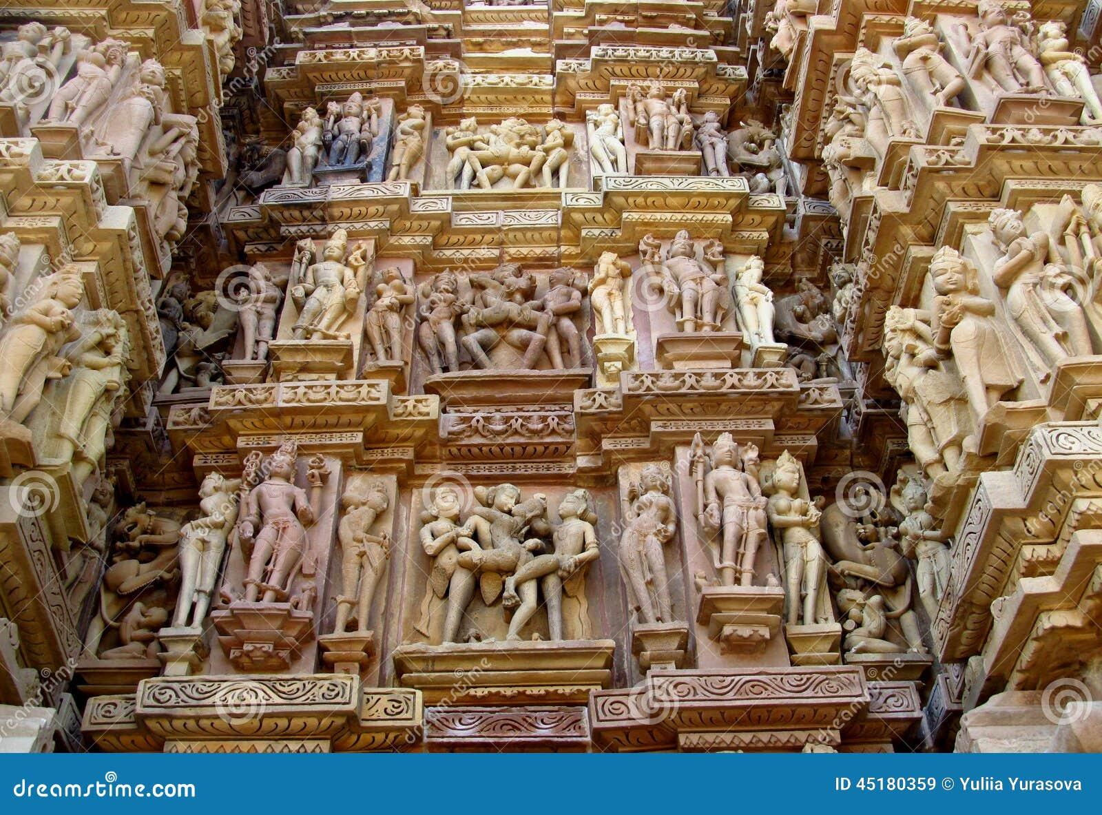 Erotische beeldhouwwerken in Khajuraho-Tempelgroep Monumenten in India