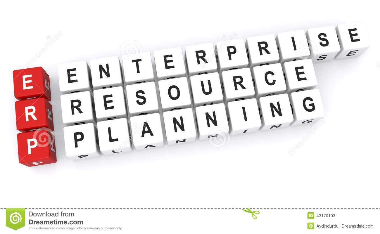 An enterprise resource planning or ERP concept image.