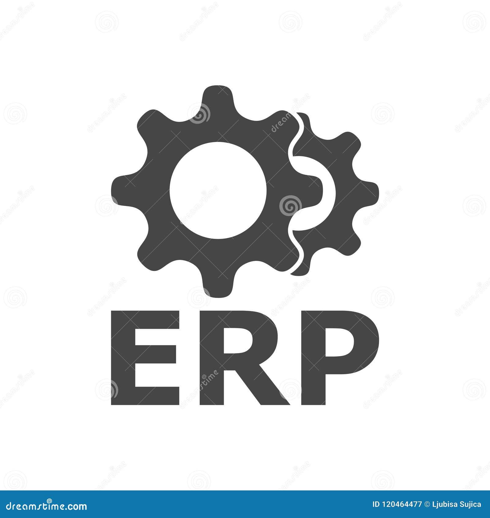 erp icon enterprise resource planning erp process stock vector