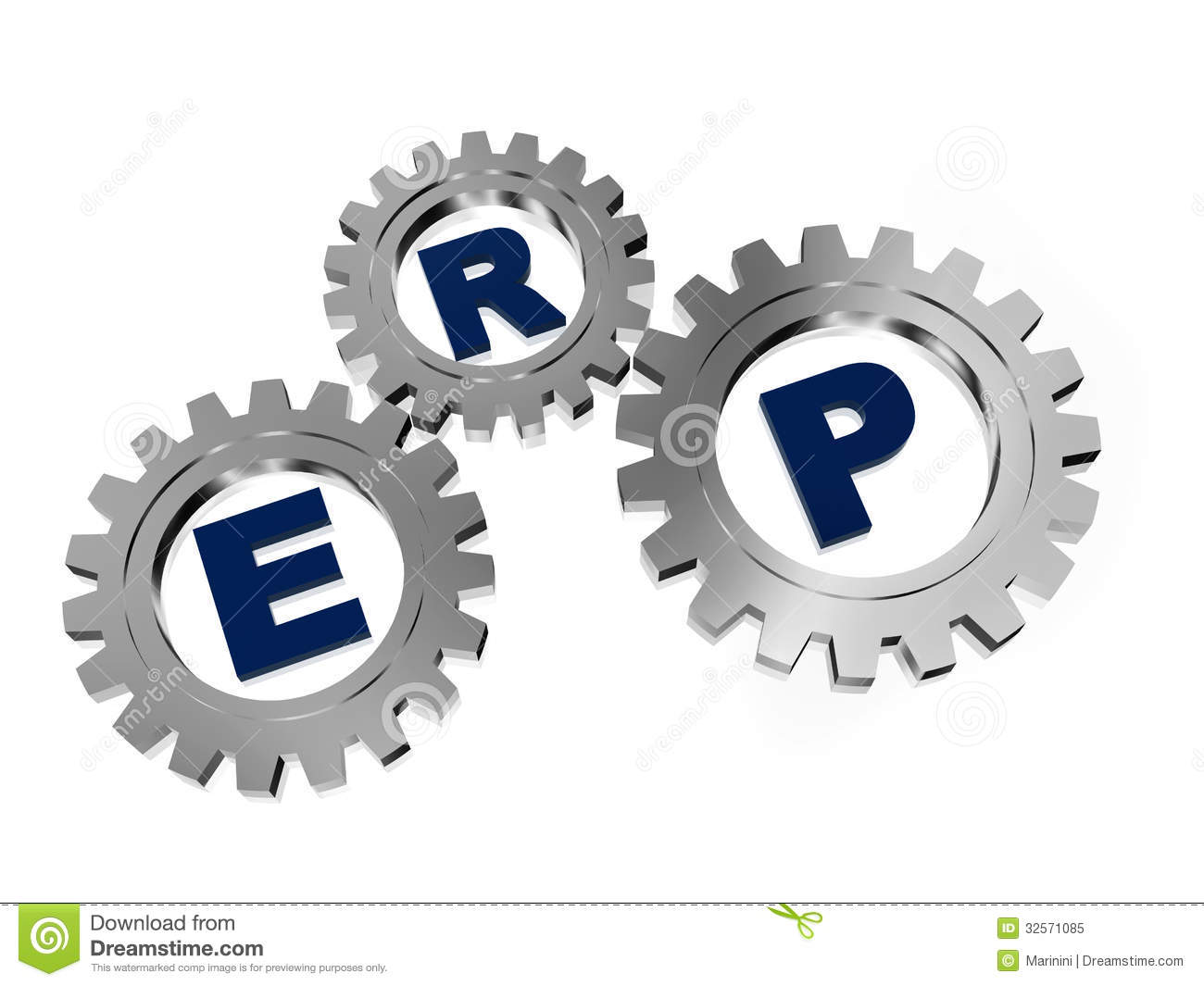 Erp In Silver Metal Gears Stock Illustration Illustration