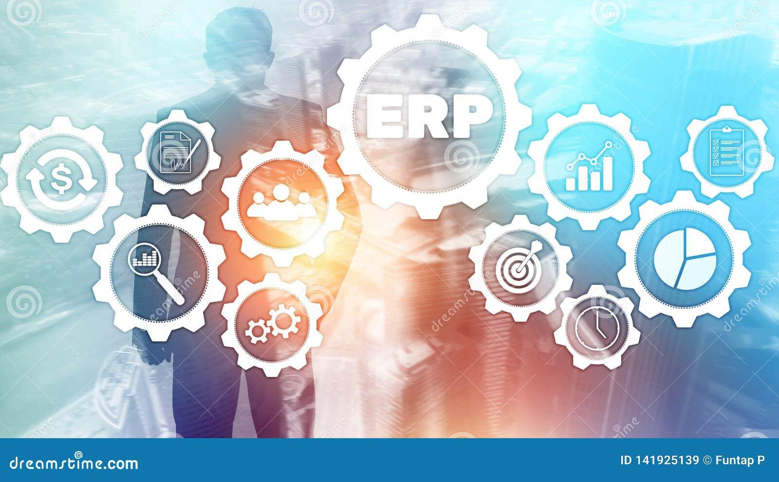 ERP systeem, Ondernemingsmiddel planning op vage achtergrond Bedrijfsautomatisering en innovatieconcept