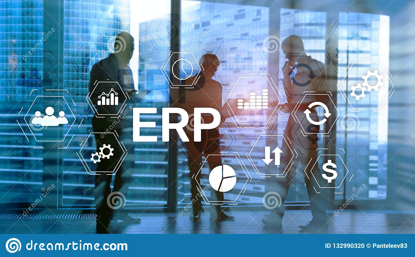 ERP system, Enterprise resource planning on blurred background. Business automation and innovation concept