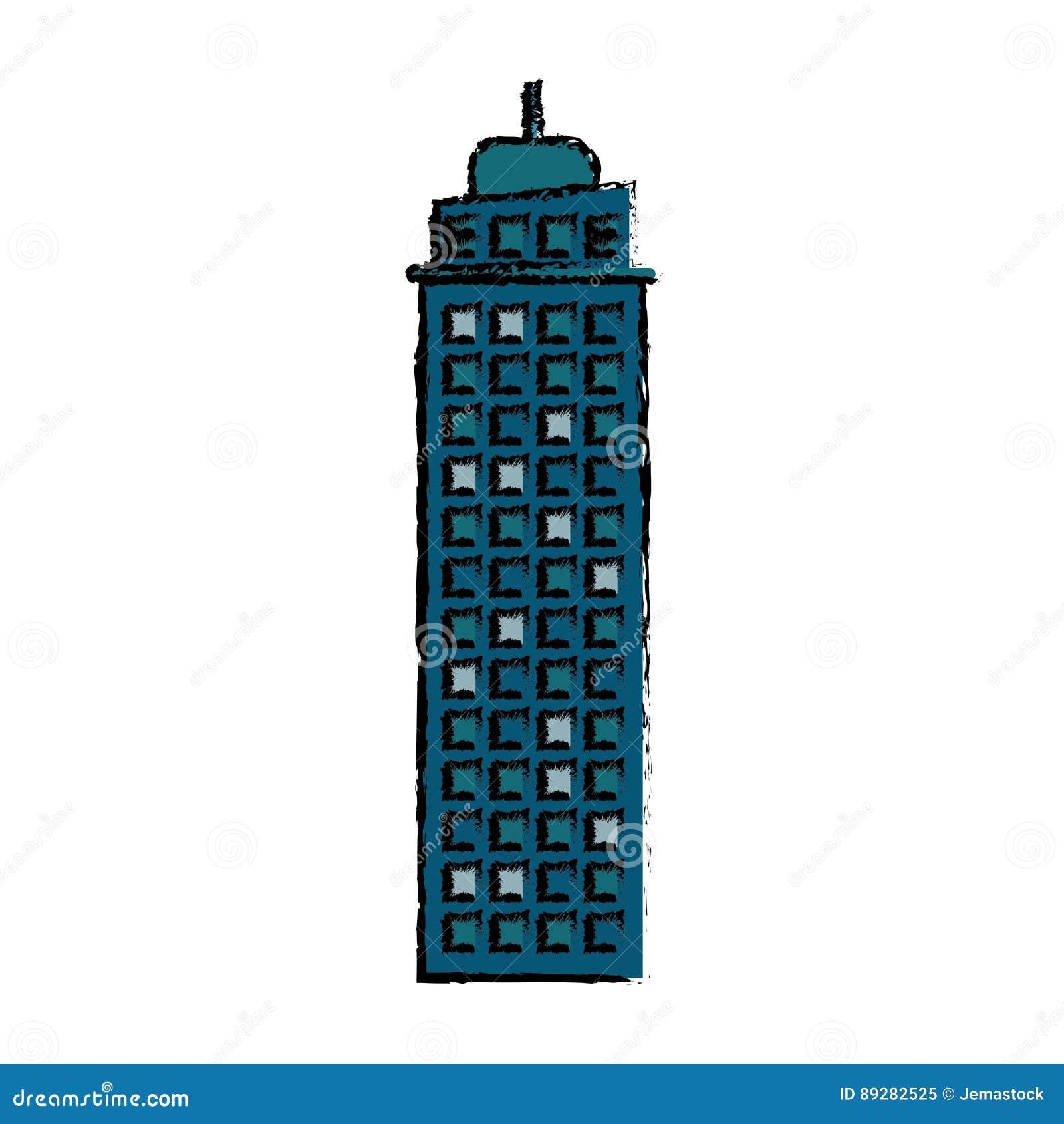 Errichtende Immobilienfassadenikone