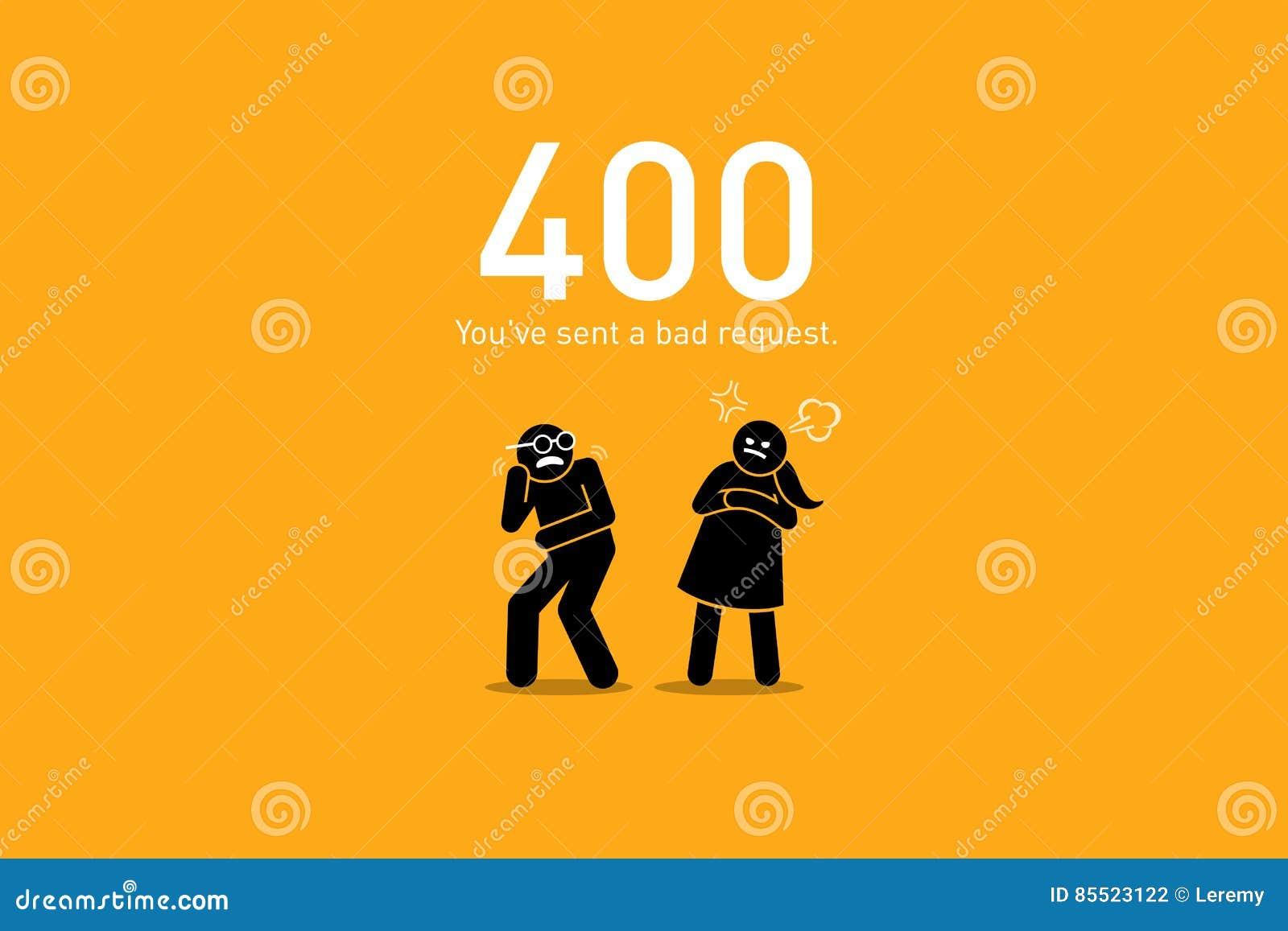 Error 400 del sitio web Mala petición