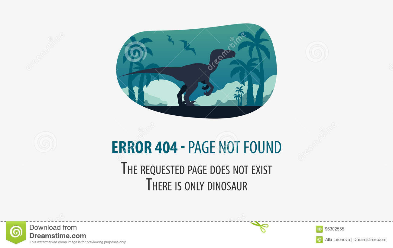 404 error with dinosaur page not found ui ux template for website