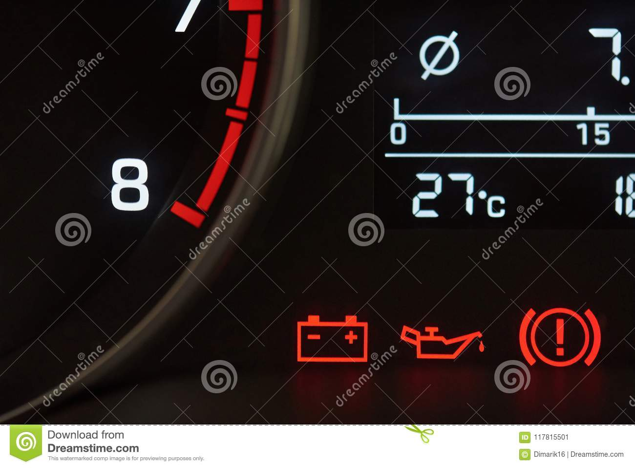 Error Icons On Car Dashboard Stock Image Image Of Lights Concept