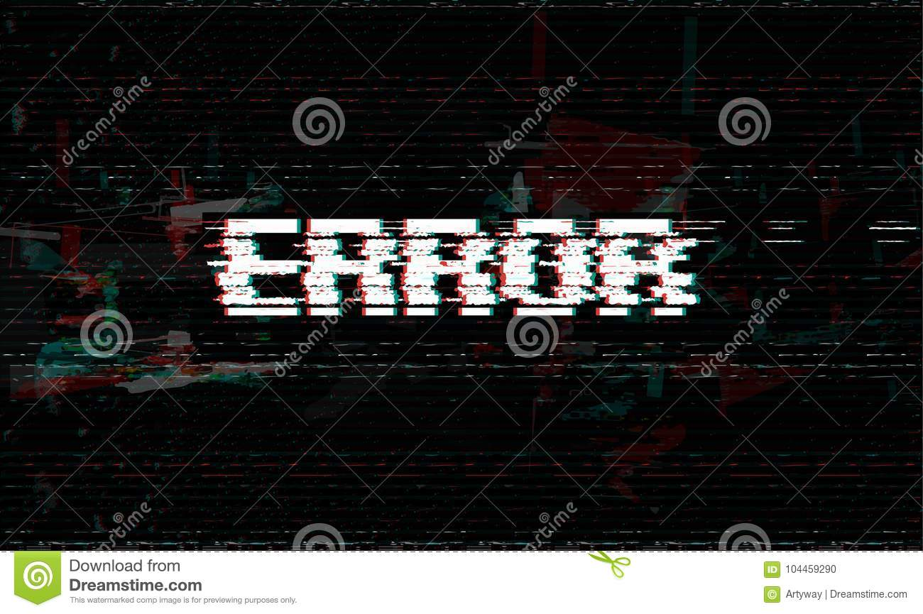 Error message, glitch, system failure vector illustration, black glitch effect background.