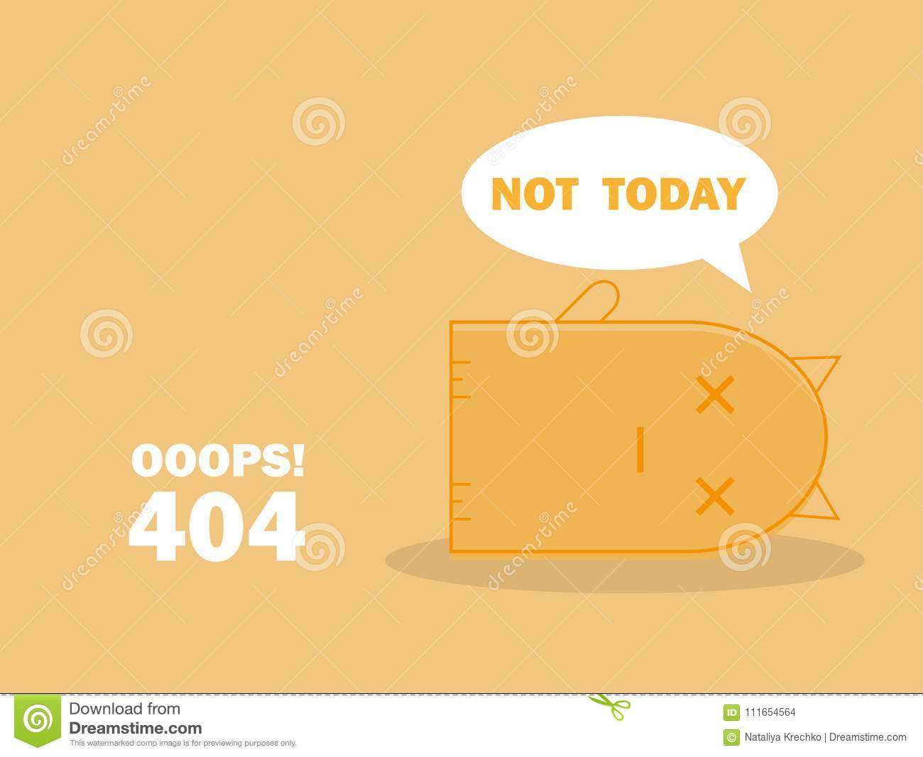 404 Error Page With Cute Cat And Warning Message Oops Page