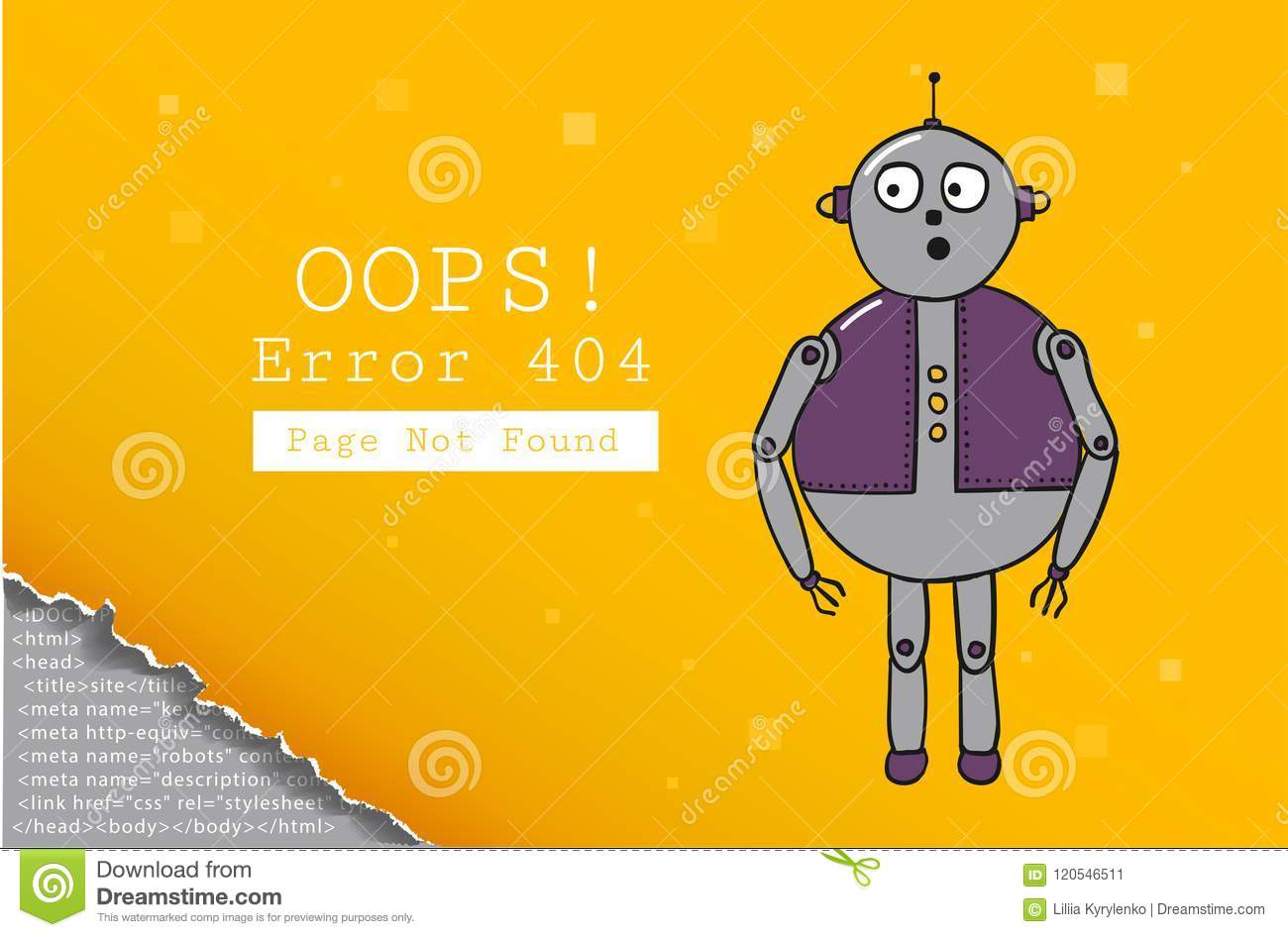 Error 404. Page Not Found. Design Template With Text And Robot ...