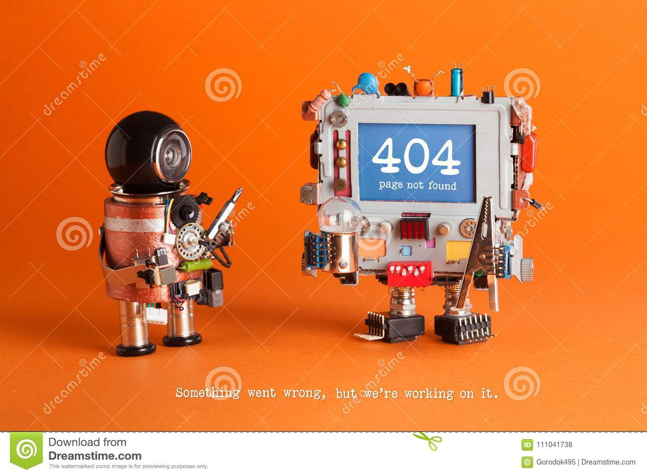 404 error page not found. Serviceman robot with driver, robotic computer warning message on blue screen. Orange
