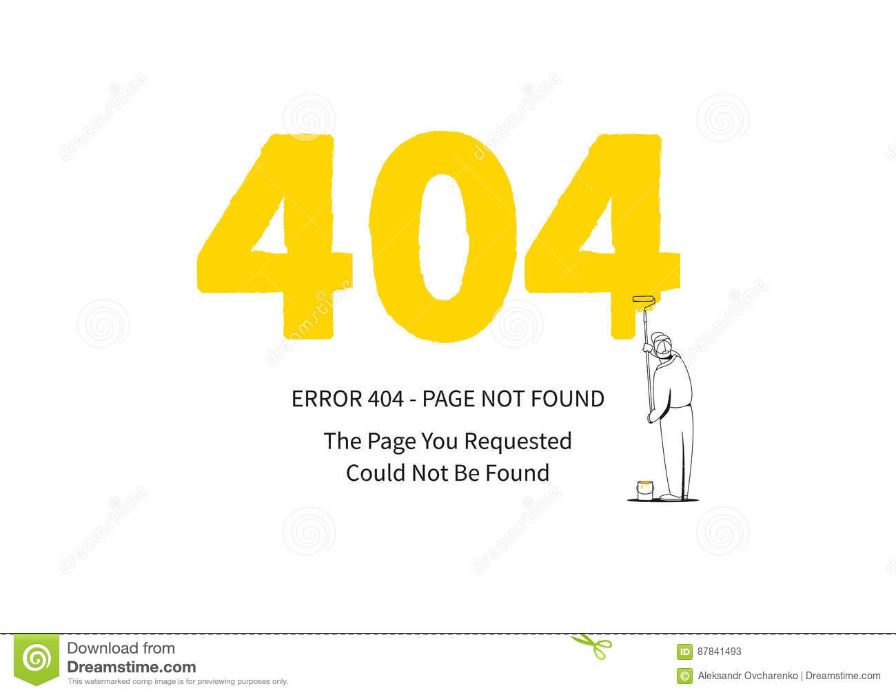 404 Error Page Yellow Painter Stock Vector - Illustration of page