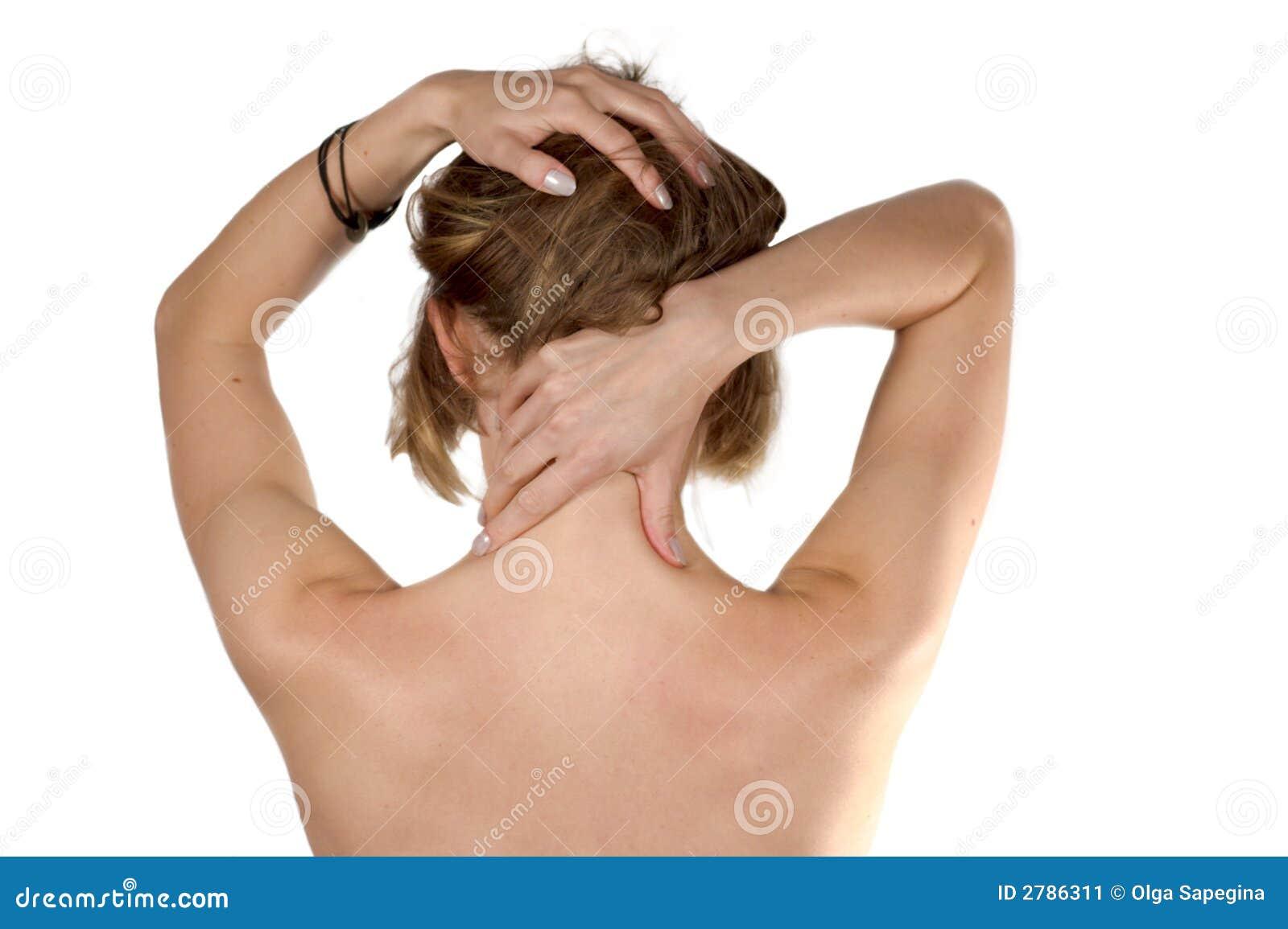 Erschöpfte Mädchen Selbst-massage