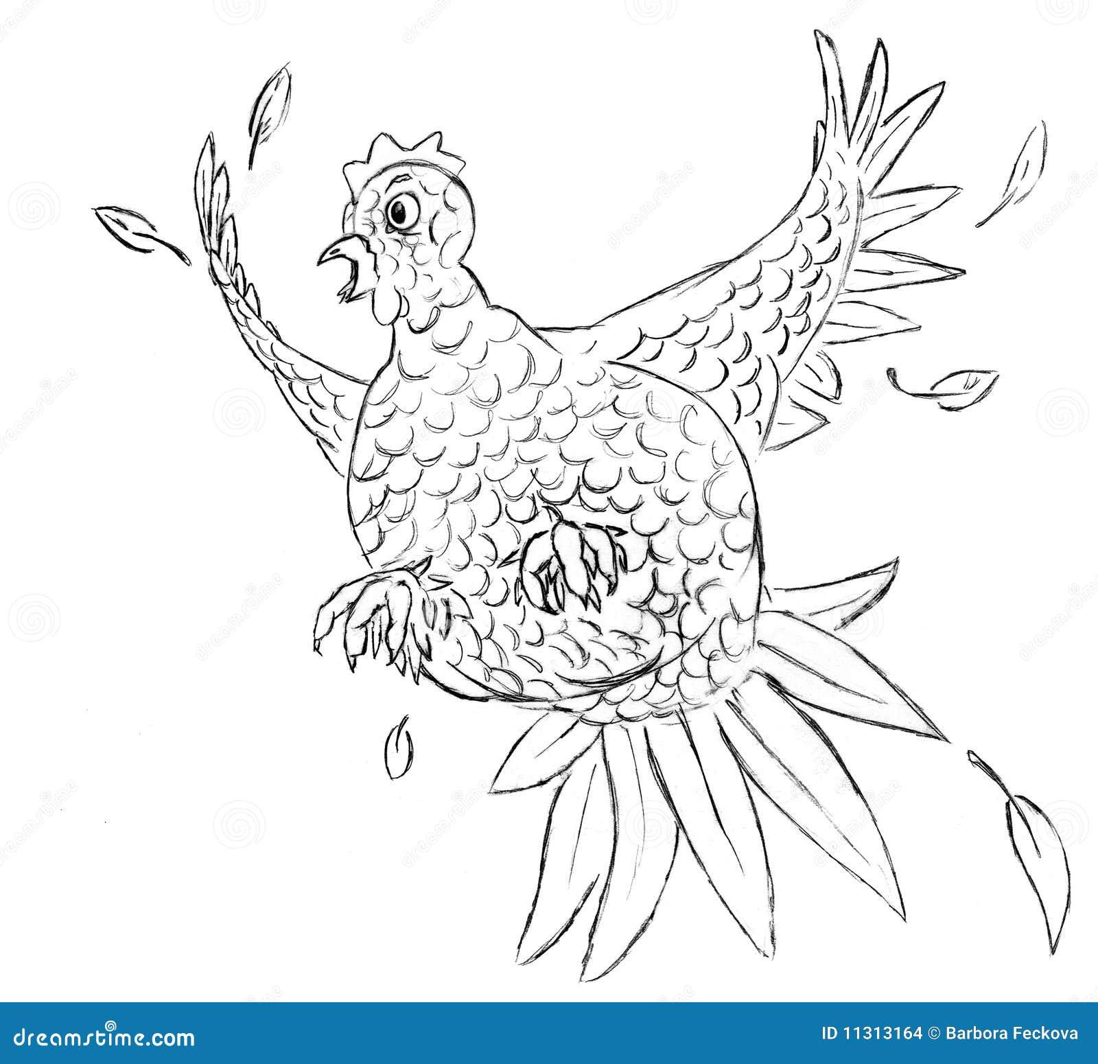 Erschrockenes Huhn