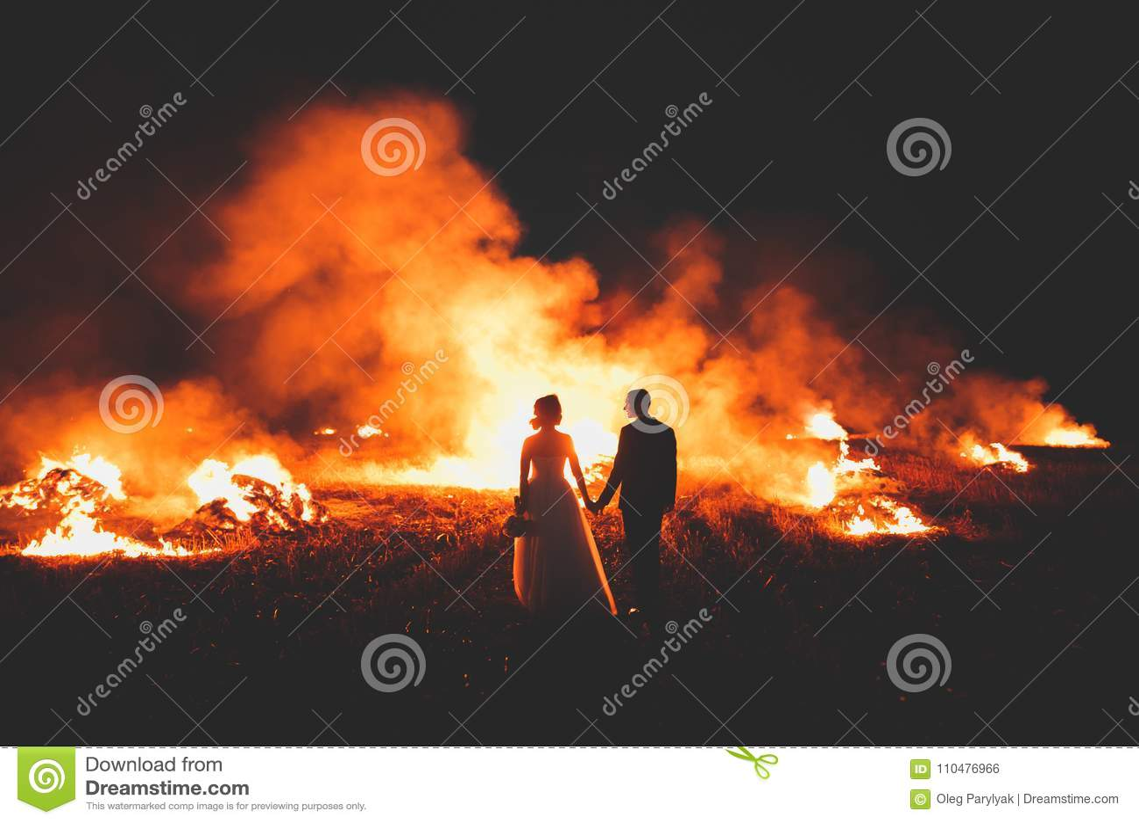 Erstaunliche Hochzeitspaare nahe dem Feuer nachts