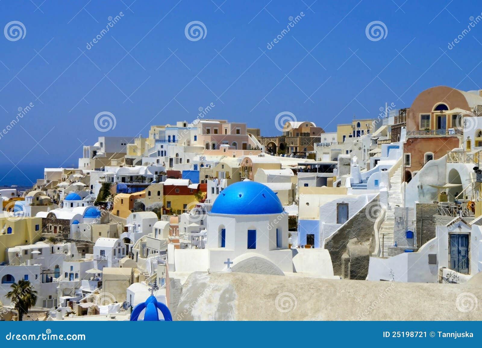 Erstaunliche Weiße Häuser Von Santorini Stockbild - Bild von kultur ...