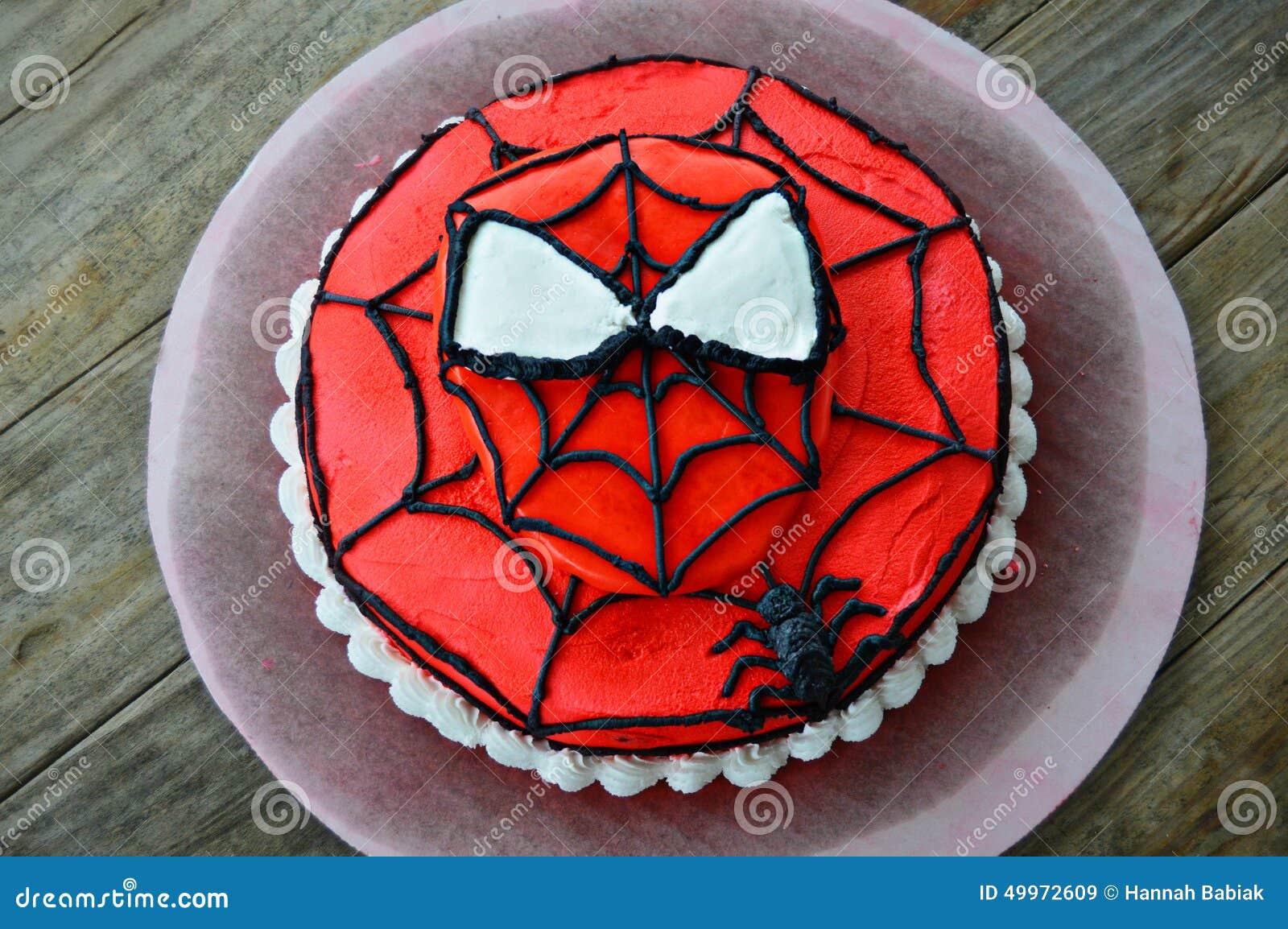 Erstaunlicher Spiderman Verzierter Kuchen Redaktionelles Stockbild