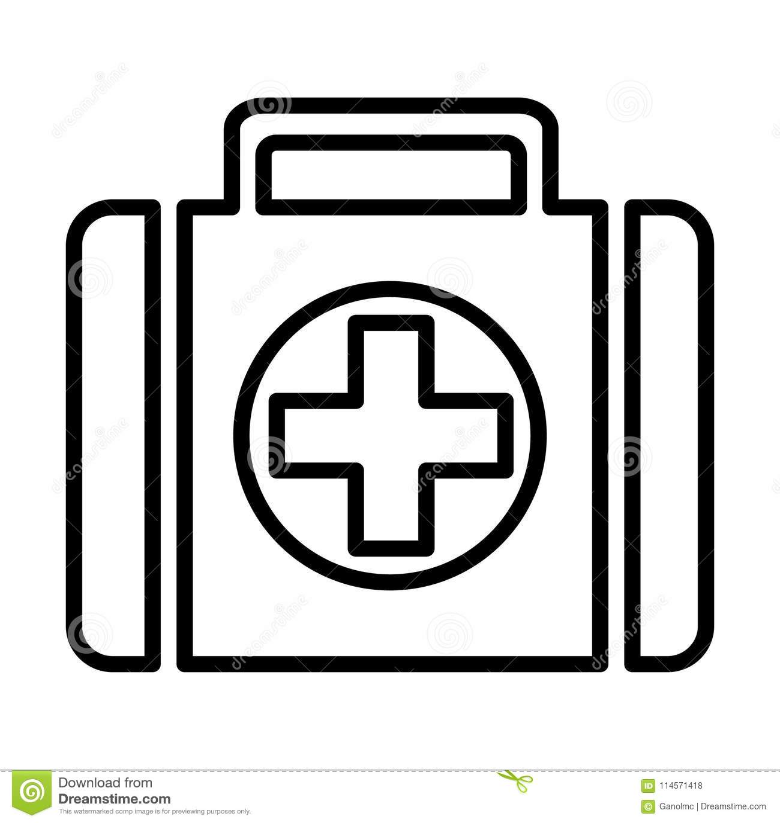 Erste-Hilfe-Kit Line Icon Piktogramm des Vektor-96x96