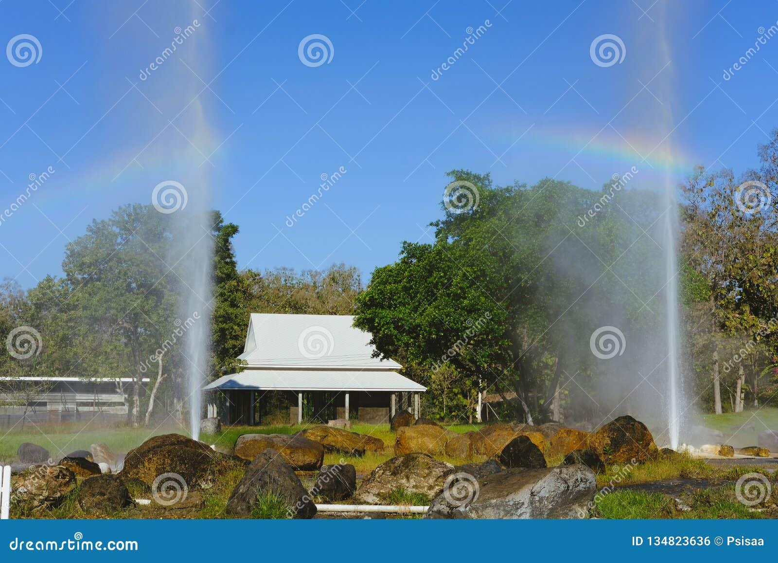 Erupção do geyser água geotérmica de explosão da mola quente