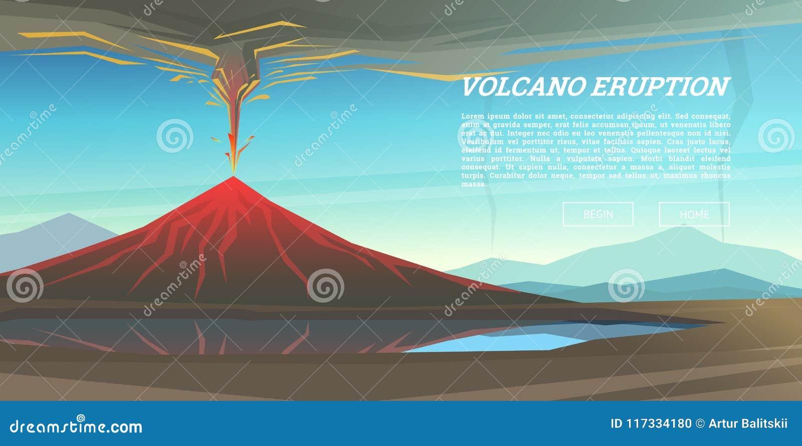 Erupción del volcán activo con el fondo permeable del magma desastre natural o cataclismo El explotar en el parque Lava Fuming