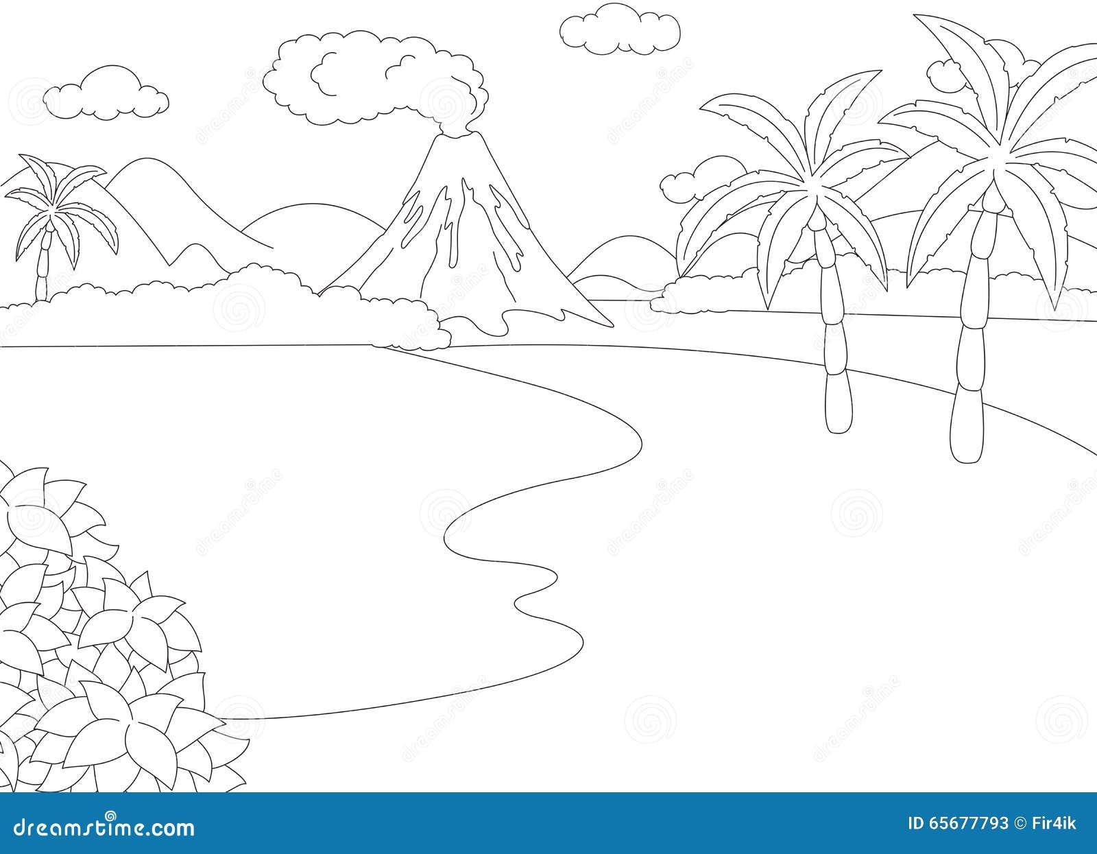 Erupción Volcánica Libro De Colorear Para Los Niños