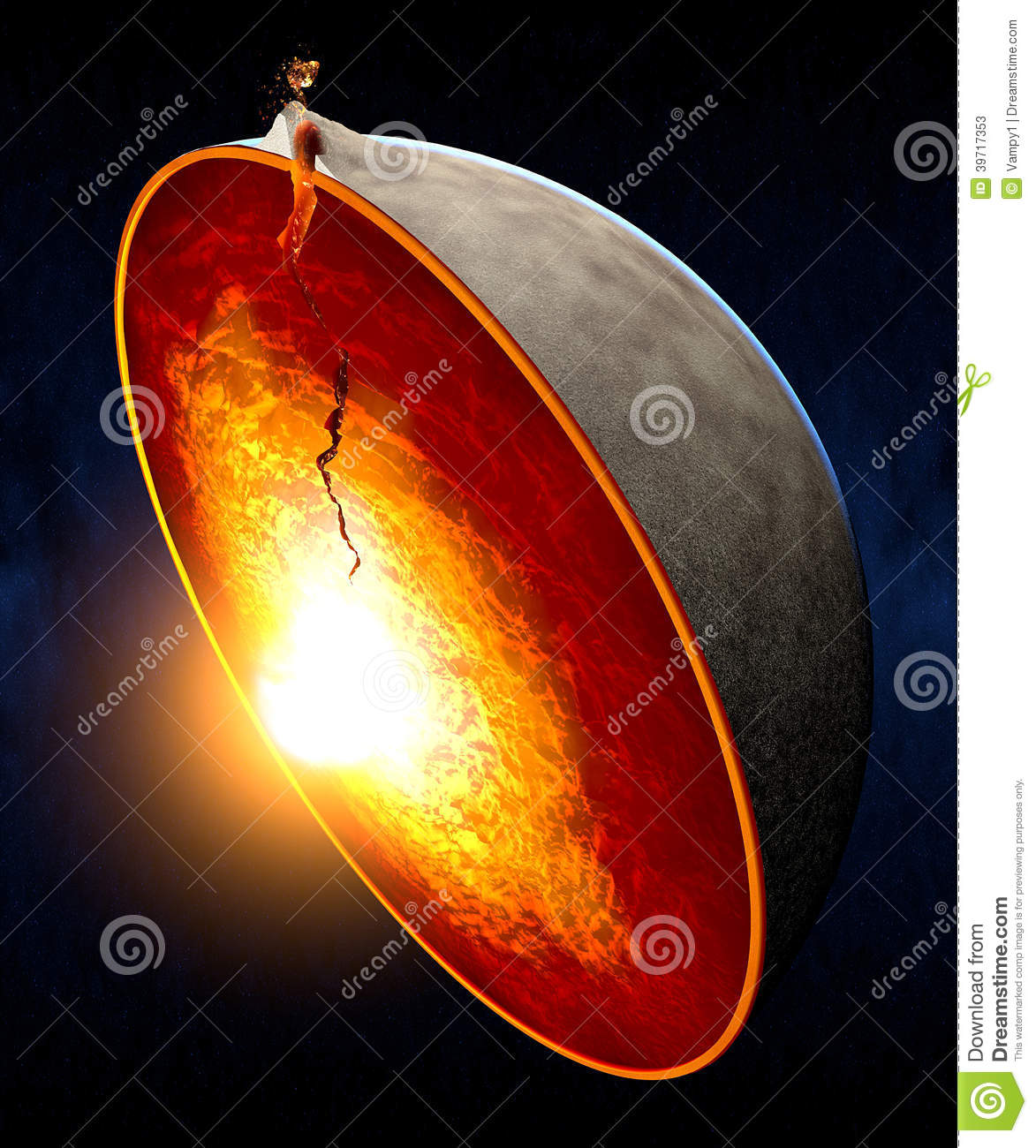 Erupting volcano and split the earth core stock illustration image