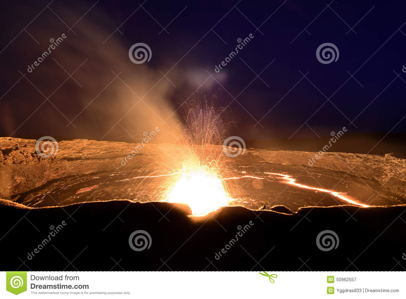 Eruption at the lava lake of the Erta Ale