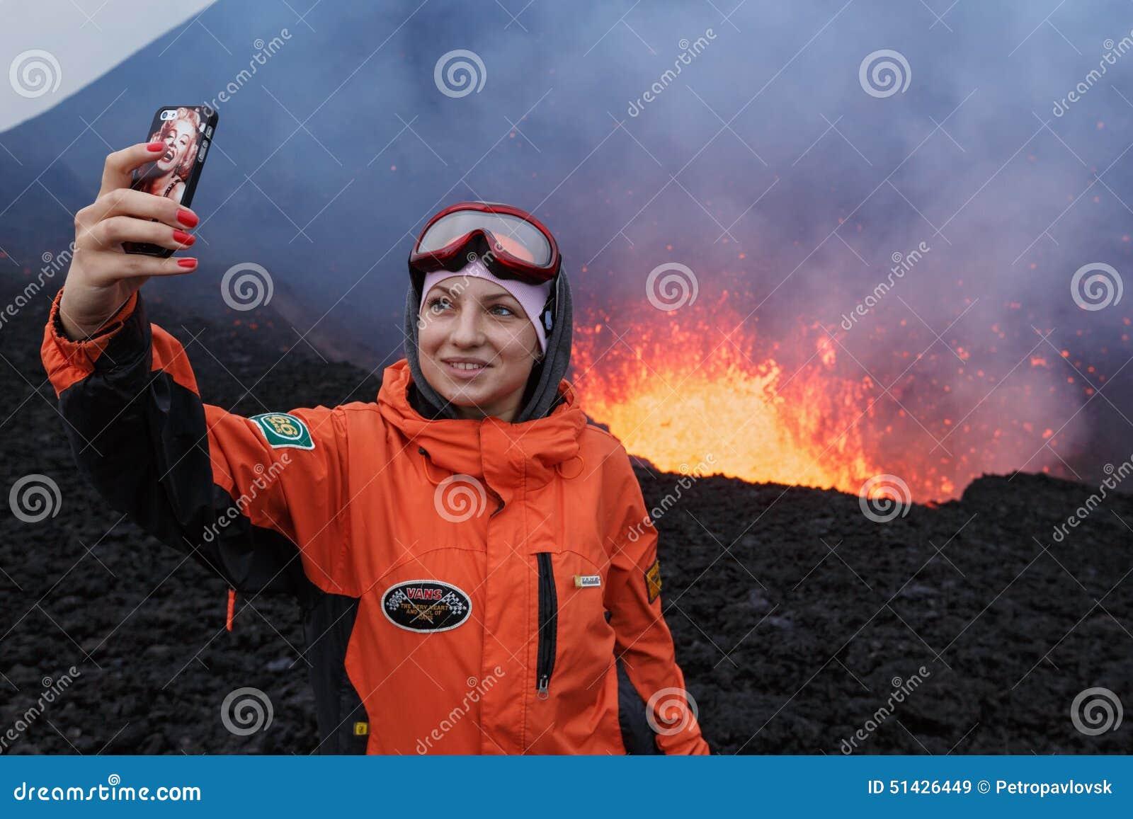 eruption tolbachik volcano on kamchatka girl photographed