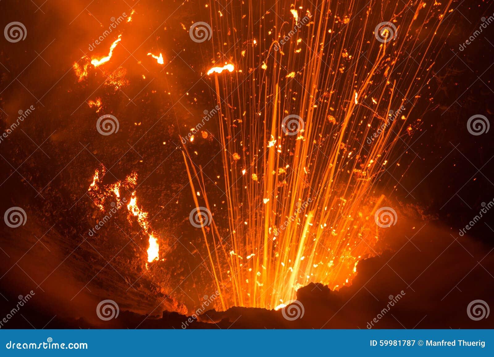 Eruption von Volcano Yasur, Vanuatu