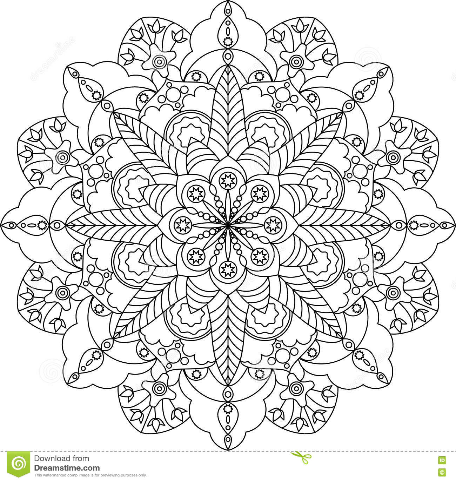 Erwachsene Farbtonseite Zentangle, Mandala Mit Blumen Vektor ...