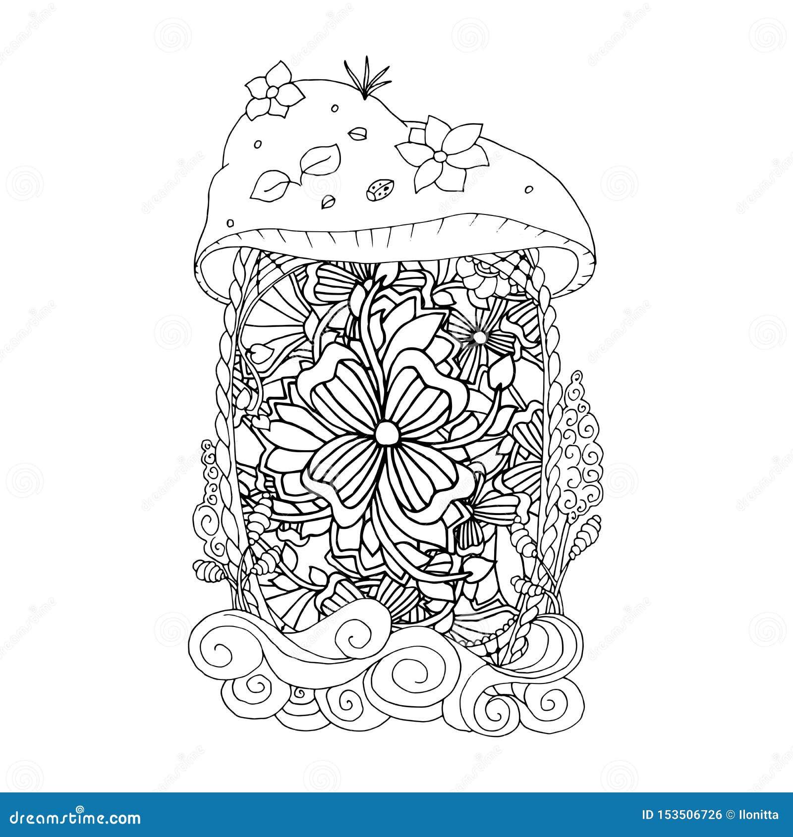erwachsene malbuchseite monofarbschwarztintenillustration