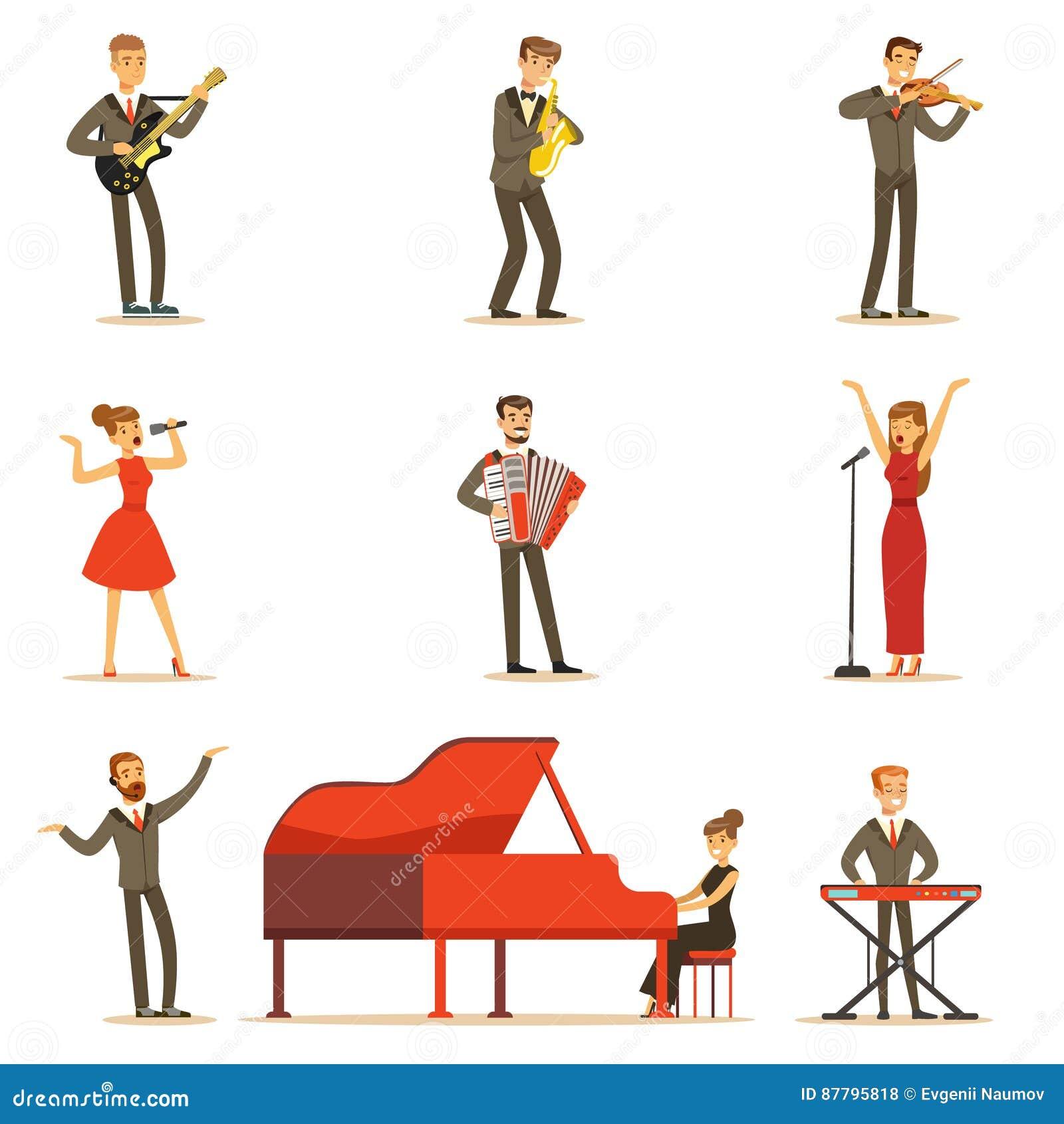 Erwachsene Musiker und Sänger, die eine musikalische Zahl auf Stadium in der Musik Hall Set Of Cartoon Characters durchführen