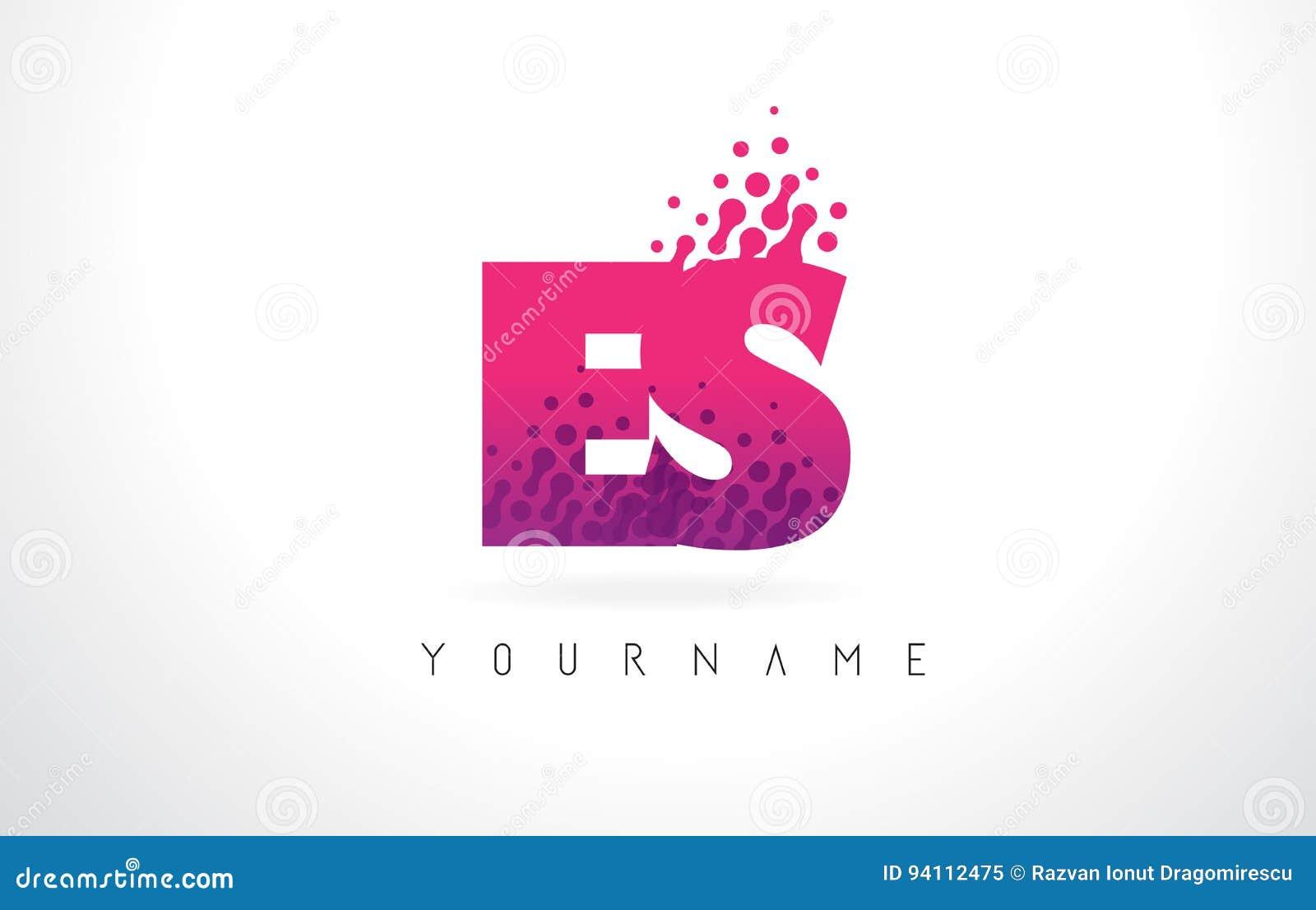 ES E S Letter Logo With Pink Purple Color And Particles Dots Des ...