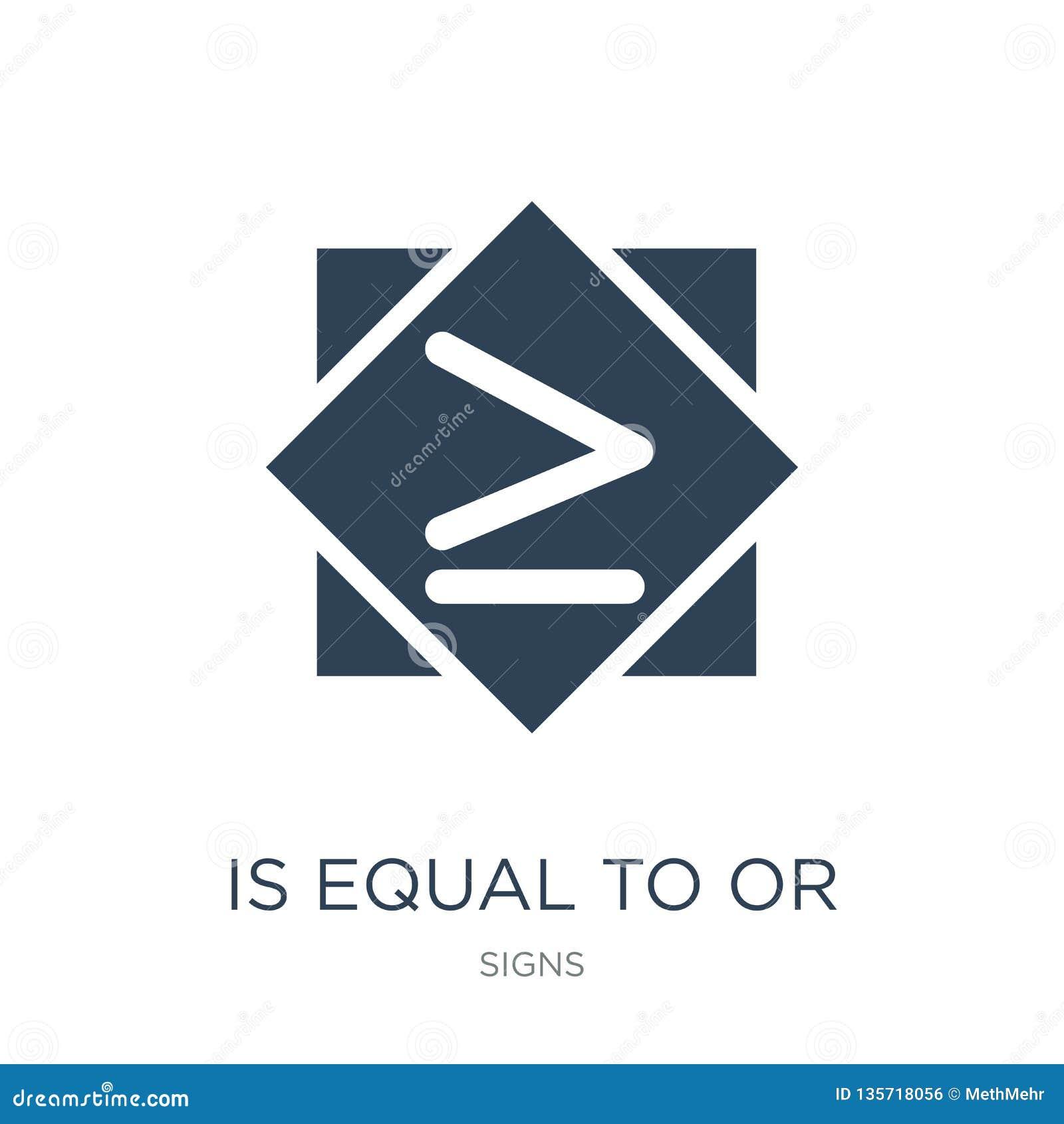 Es igual o mayor que al icono en estilo de moda del diseño es igual o mayor que al icono aislado en el fondo blanco es igual