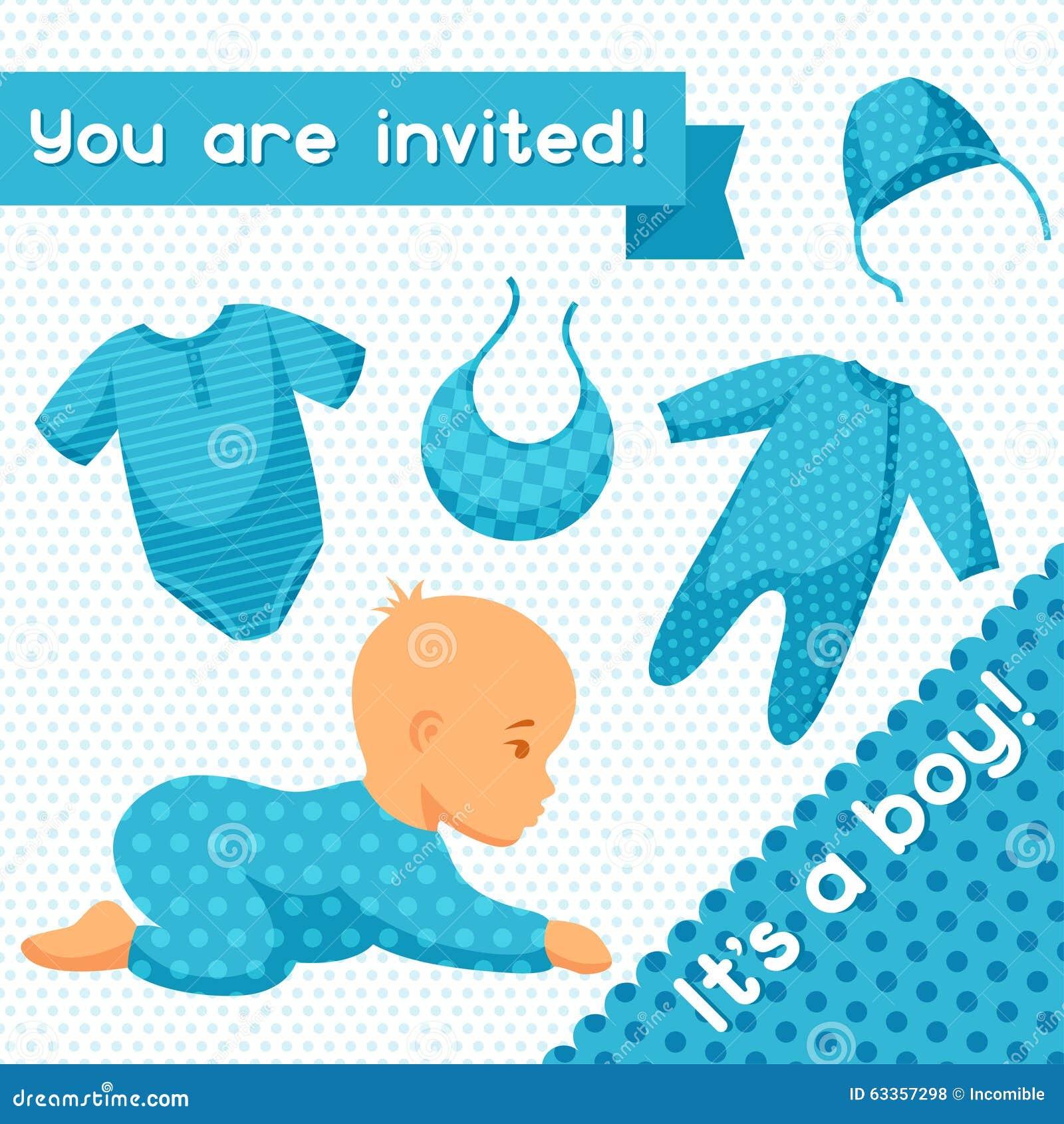 Es Ist Ein Junge Babyparty-Einladung Vektor Abbildung - Illustration ...